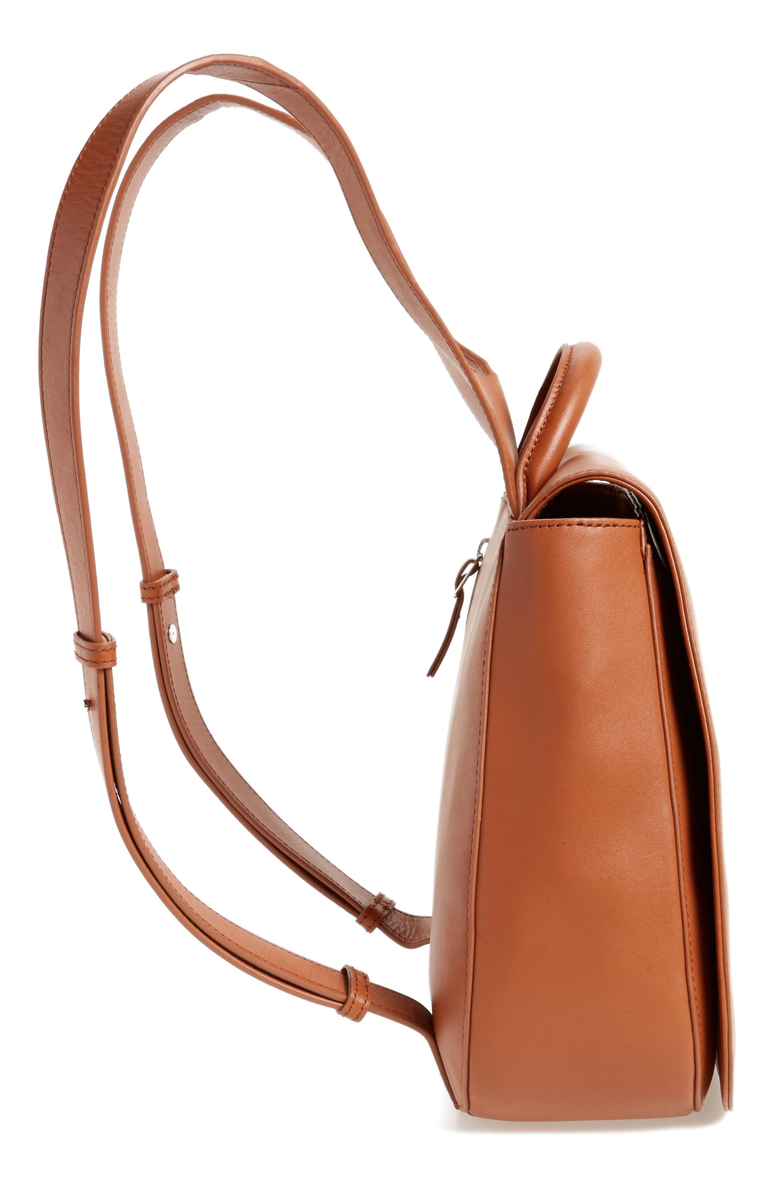 Kate Calfskin Leather Backpack,                             Alternate thumbnail 5, color,                             Saddle