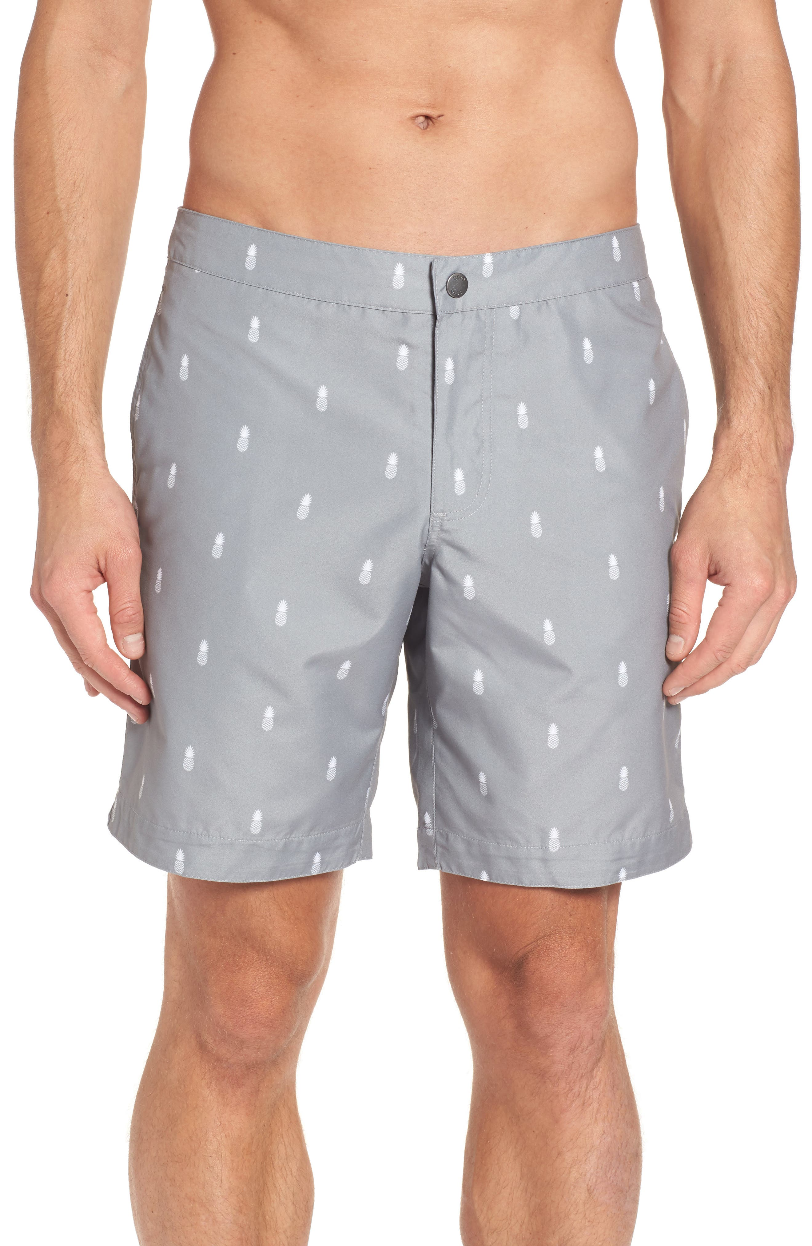 Aruba Tailored Fit Swim Trunks,                         Main,                         color, Grey Pineapple Print