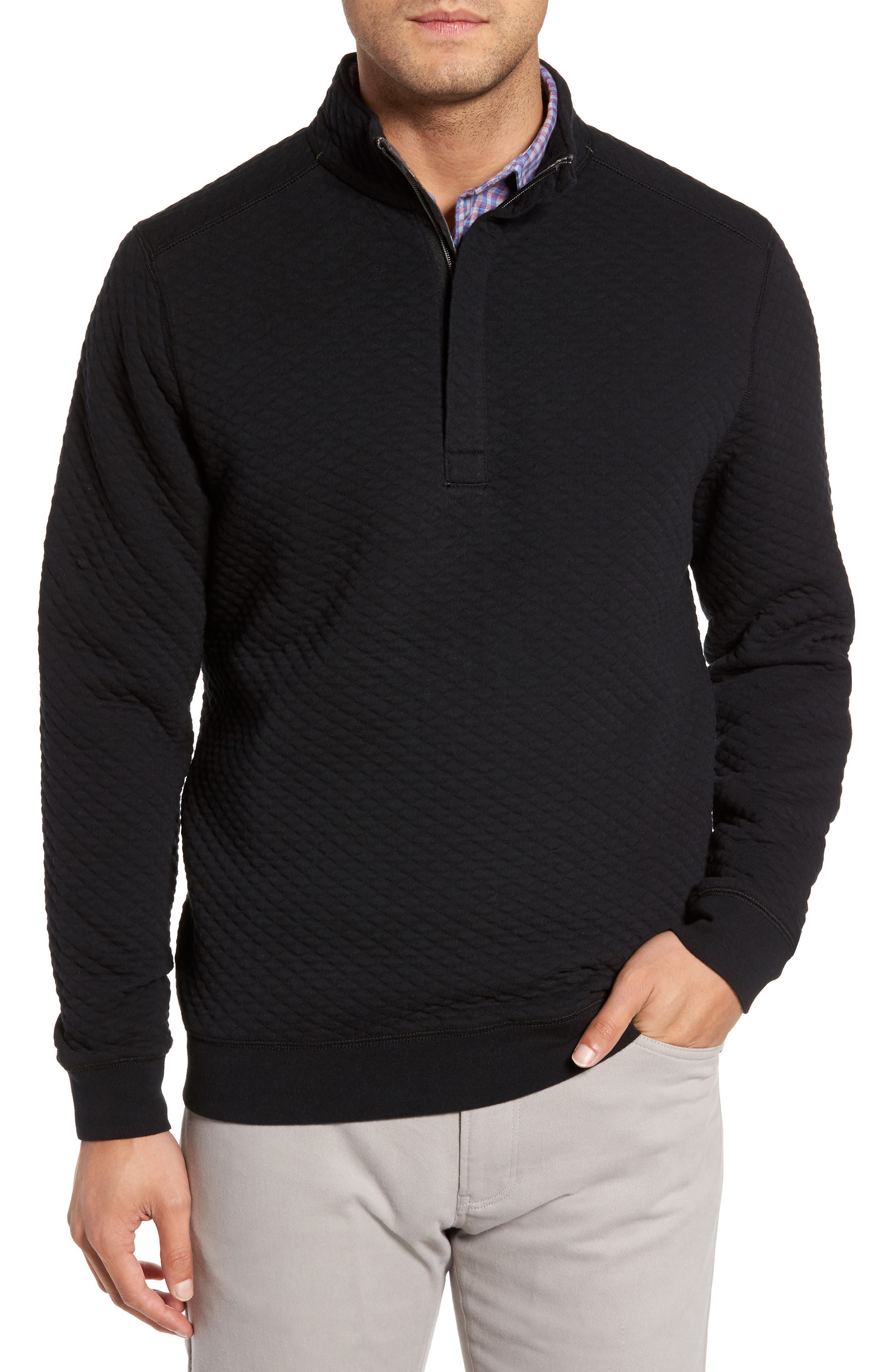 Tommy Bahama Quiltessential Standard Fit Quarter Zip Pullover