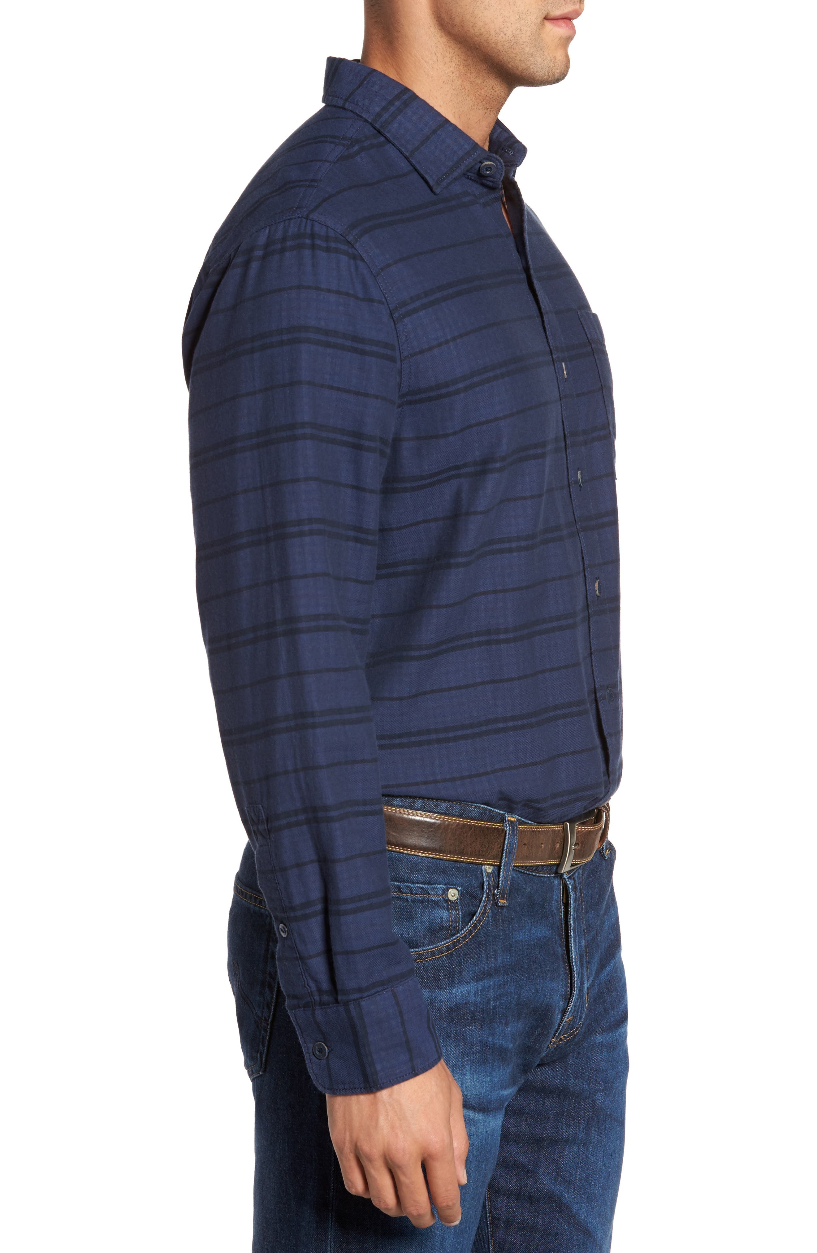 Tan Tan Stripe Standard Fit Sport Shirt,                             Alternate thumbnail 3, color,                             Deep Tahoe