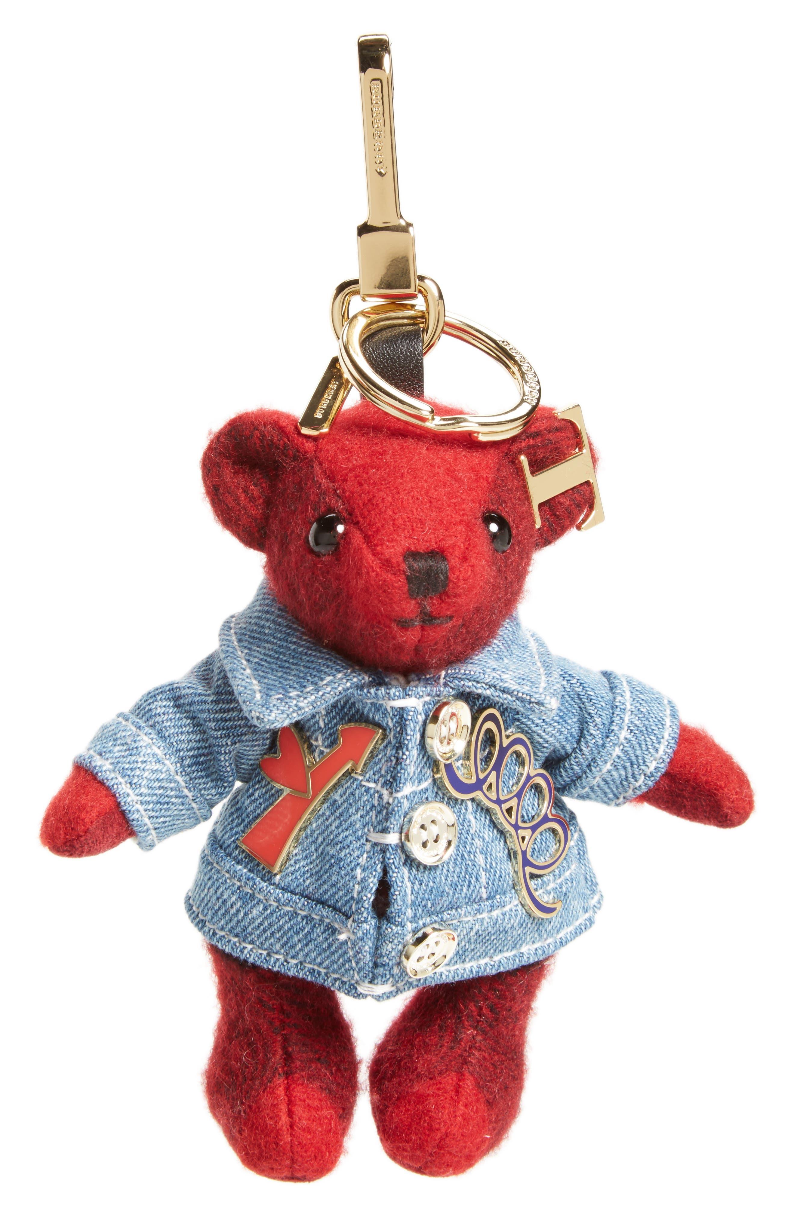 Thomas Bear Cashmere Bag Charm,                         Main,                         color, Parade Red