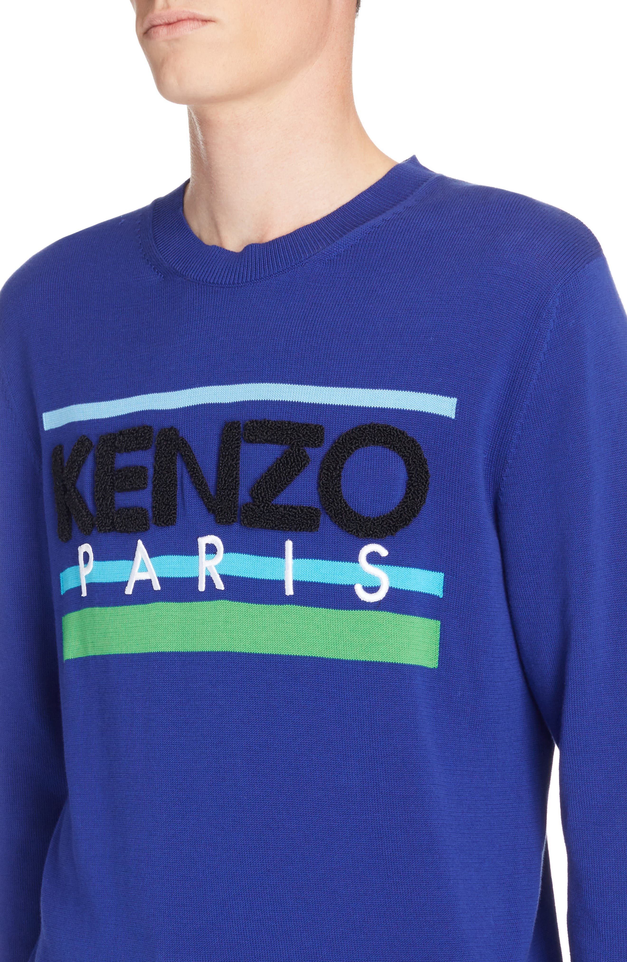 Logo Stripe Sweater,                             Alternate thumbnail 4, color,                             French Blue