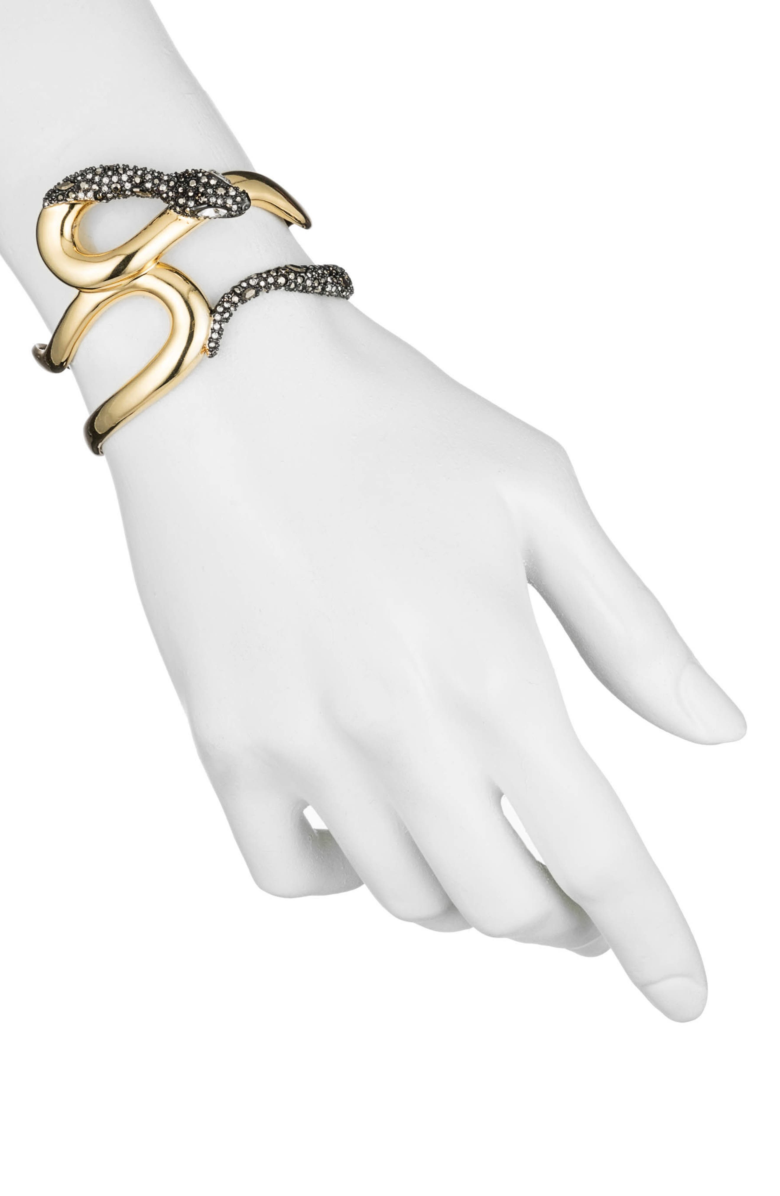 Crystal Accent Snake Cuff,                         Main,                         color, Gold