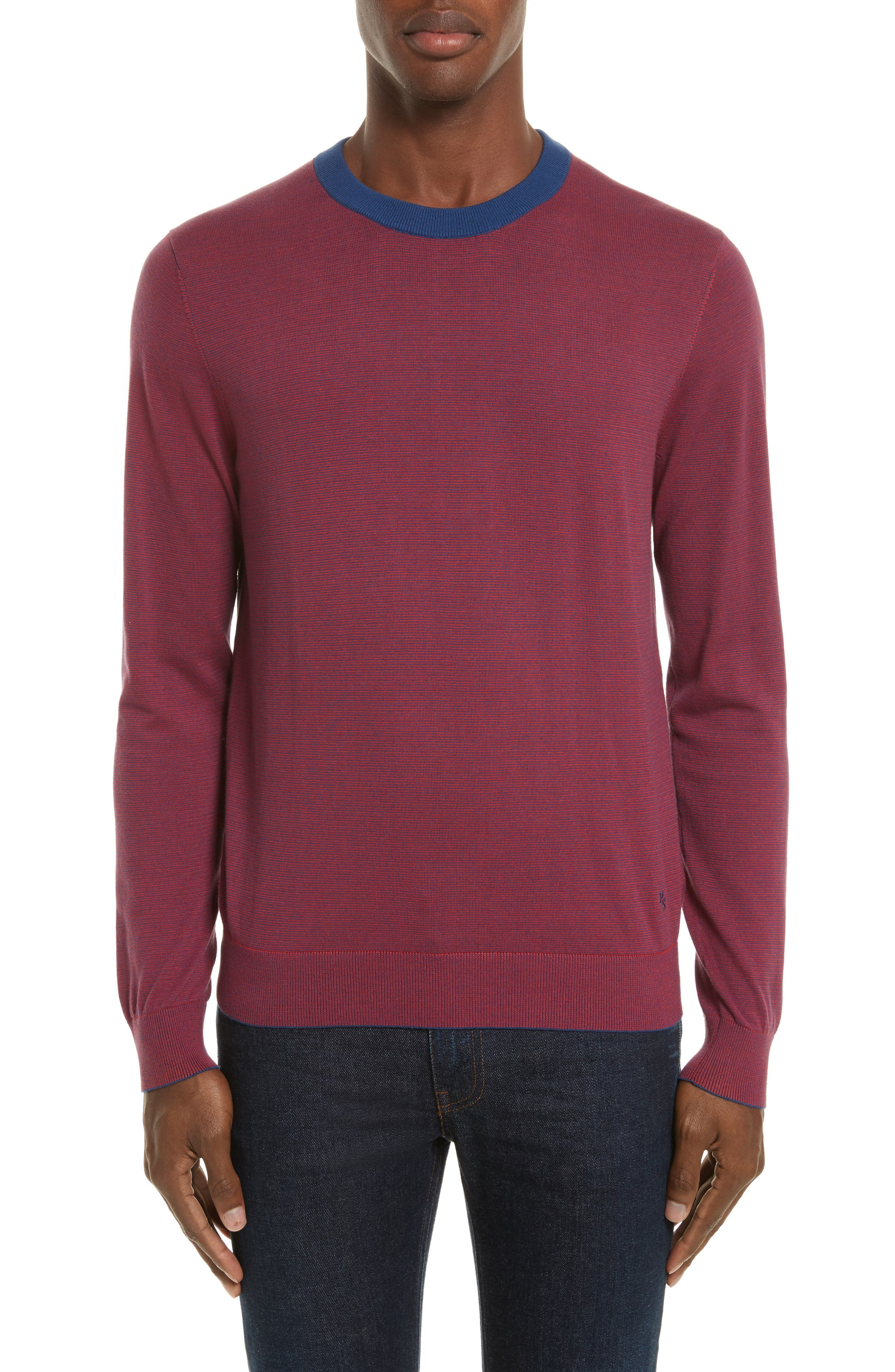 Ministripe Crewneck Sweater,                             Main thumbnail 1, color,                             Red