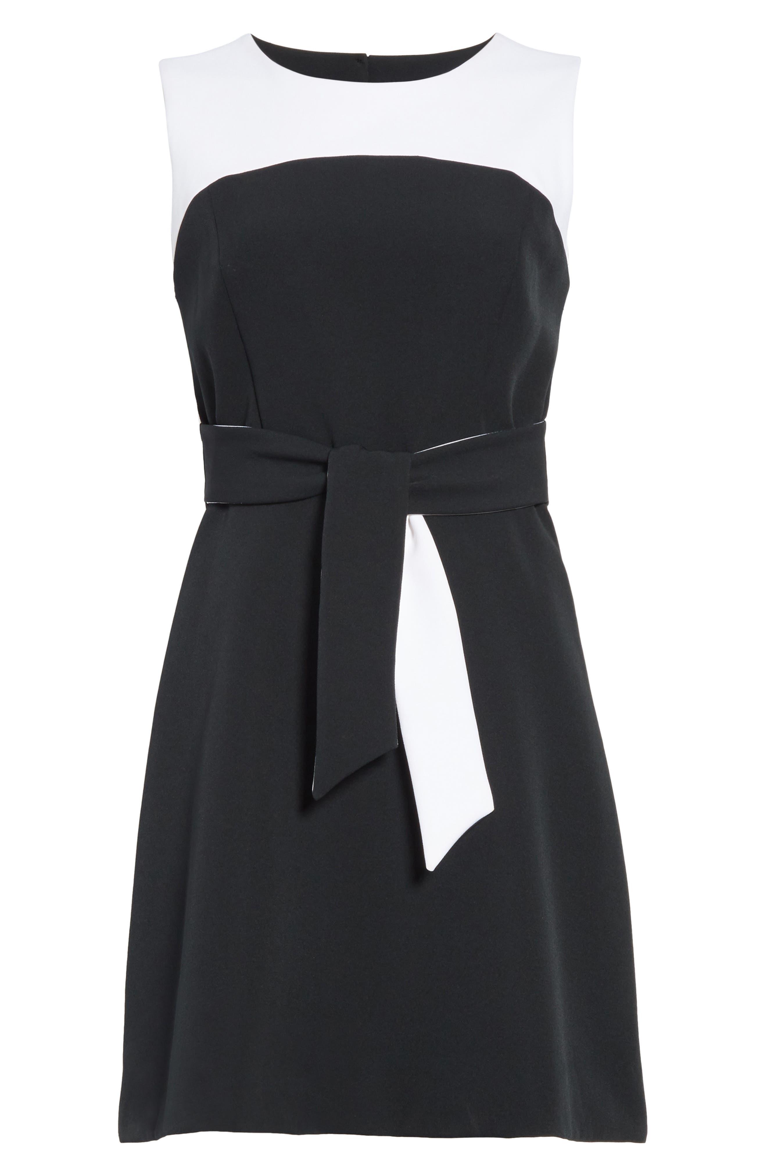 Jenny Stretch Crepe Fit & Flare Dress,                             Alternate thumbnail 6, color,                             White/ Black