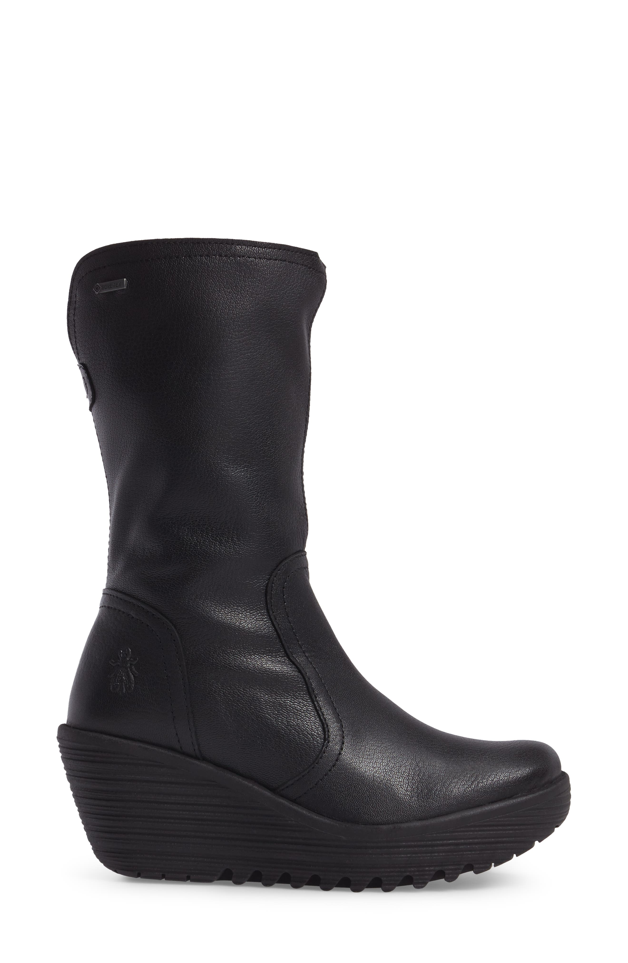 Yups Waterproof Gore-Tex<sup>®</sup> Wedge Boot,                             Alternate thumbnail 3, color,                             Black Mousse Leather