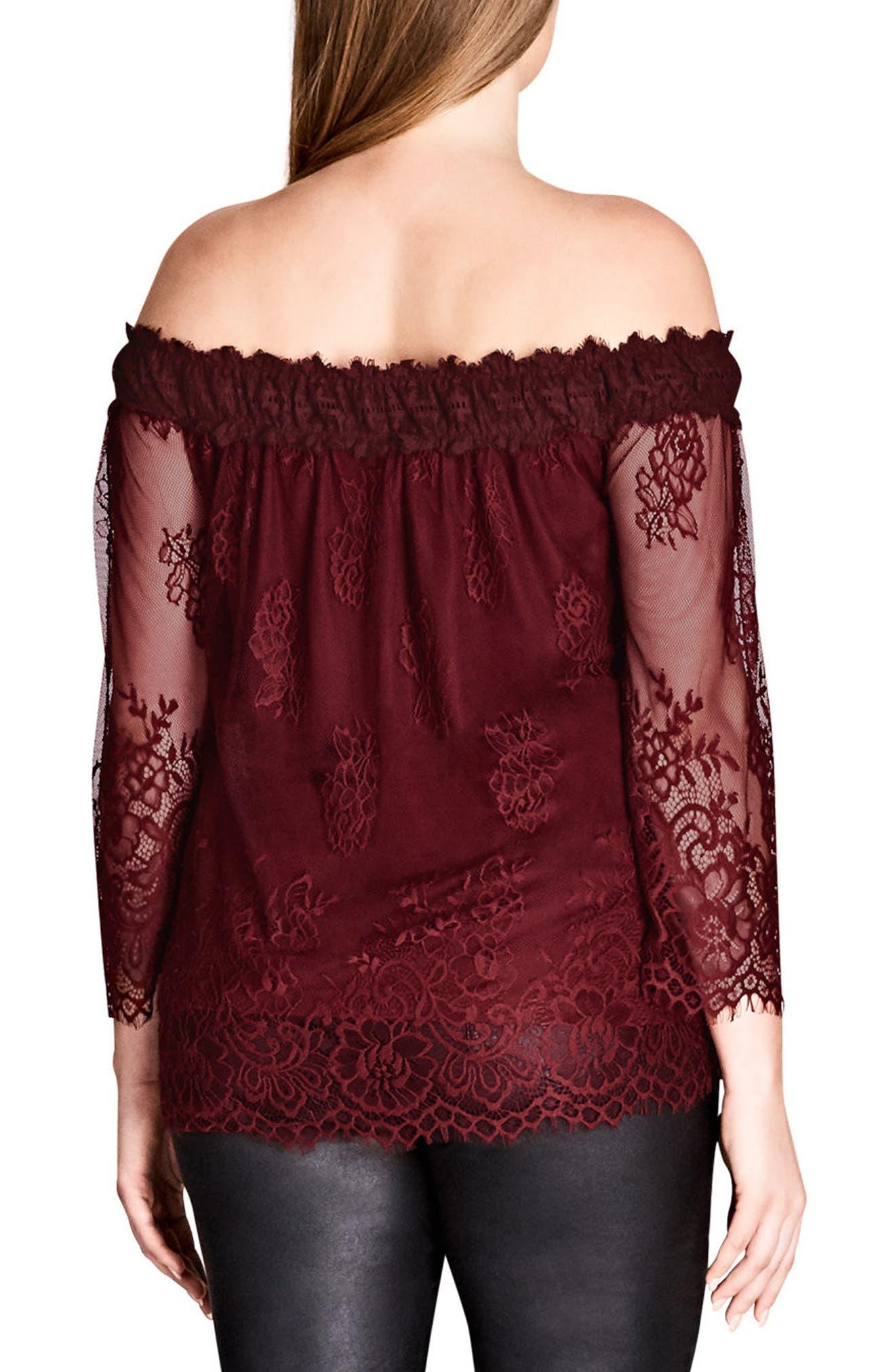 Alternate Image 2  - City Chic Soft Lace Off the Shoulder Top (Plus Size)