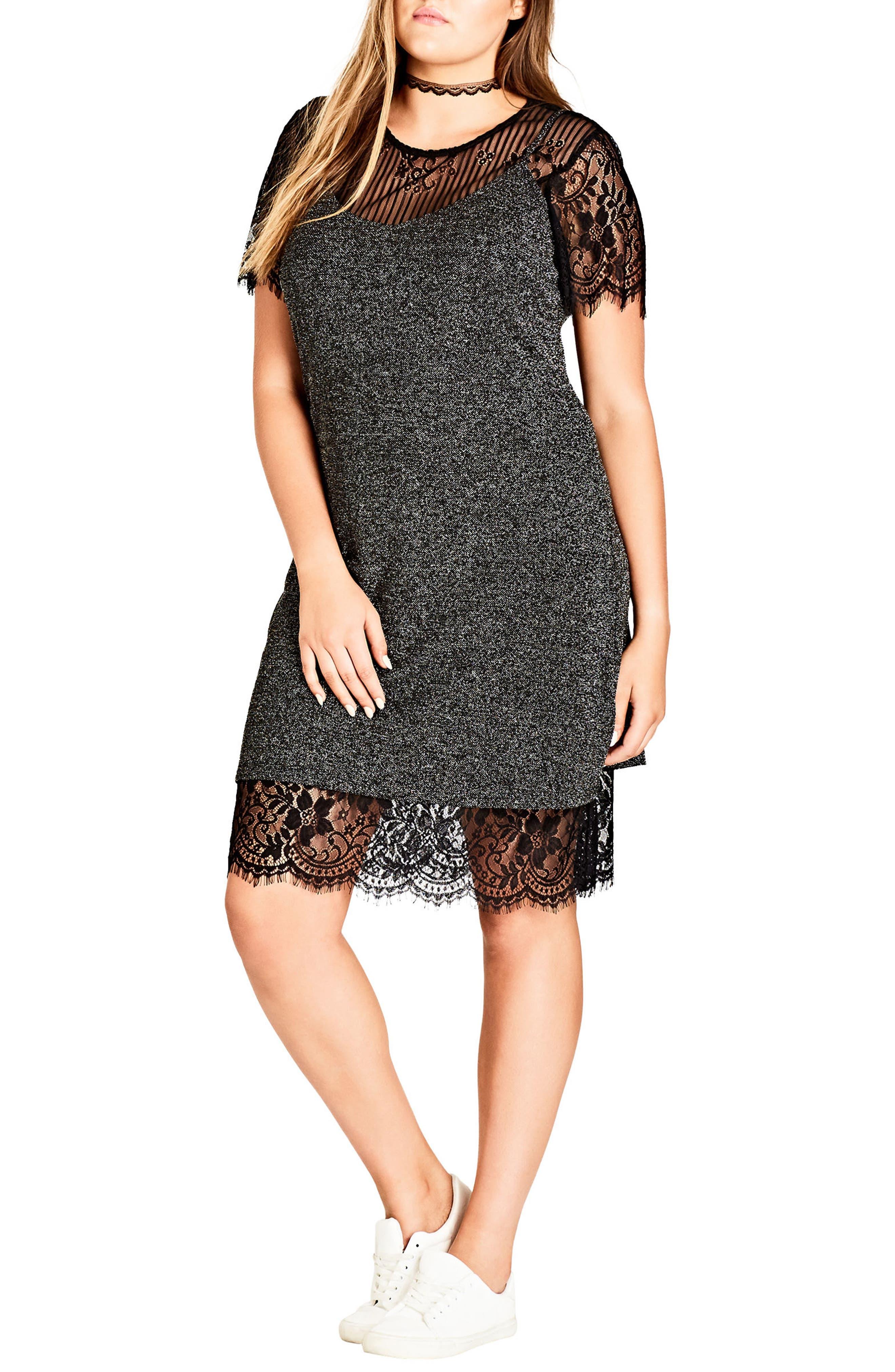 City Chic Layered Glam Lace & Lamé Dress (Plus Size)