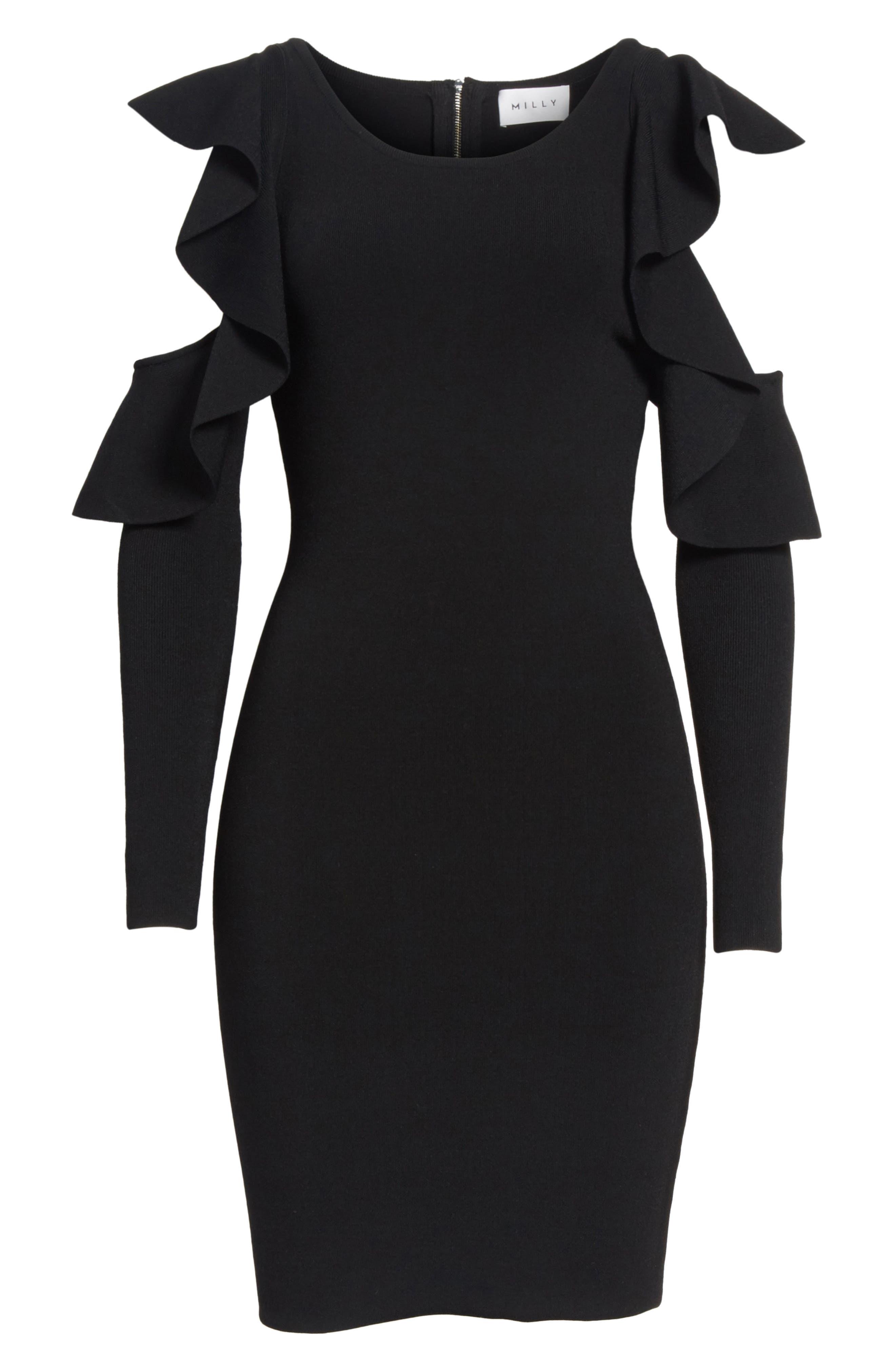 Cold Shoulder Flounce Sheath Dress,                             Alternate thumbnail 6, color,                             Black