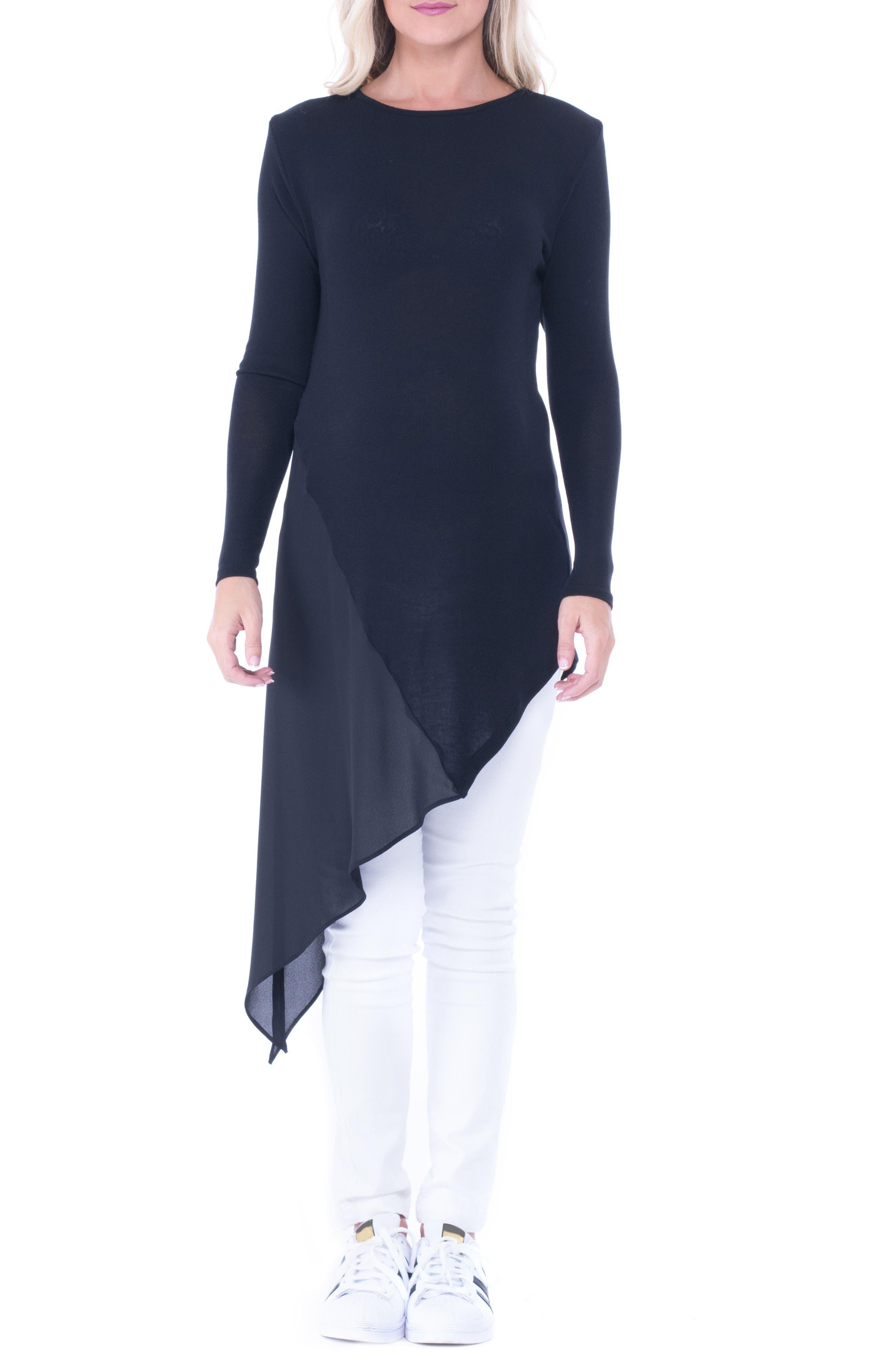 Leah Side Tie Maternity Top,                         Main,                         color, Black
