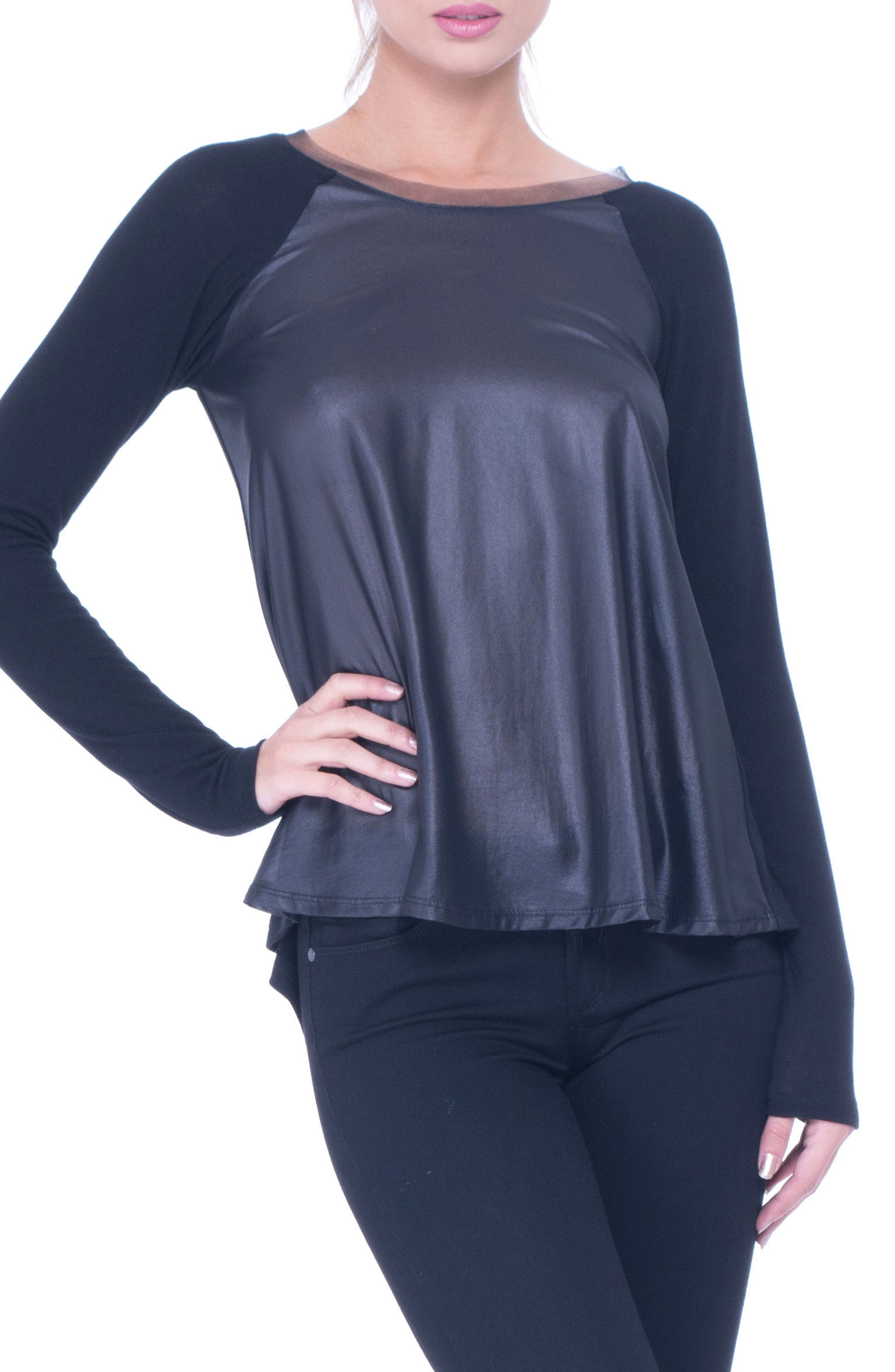 Olian Elena Faux Leather & Chiffon Maternity Top