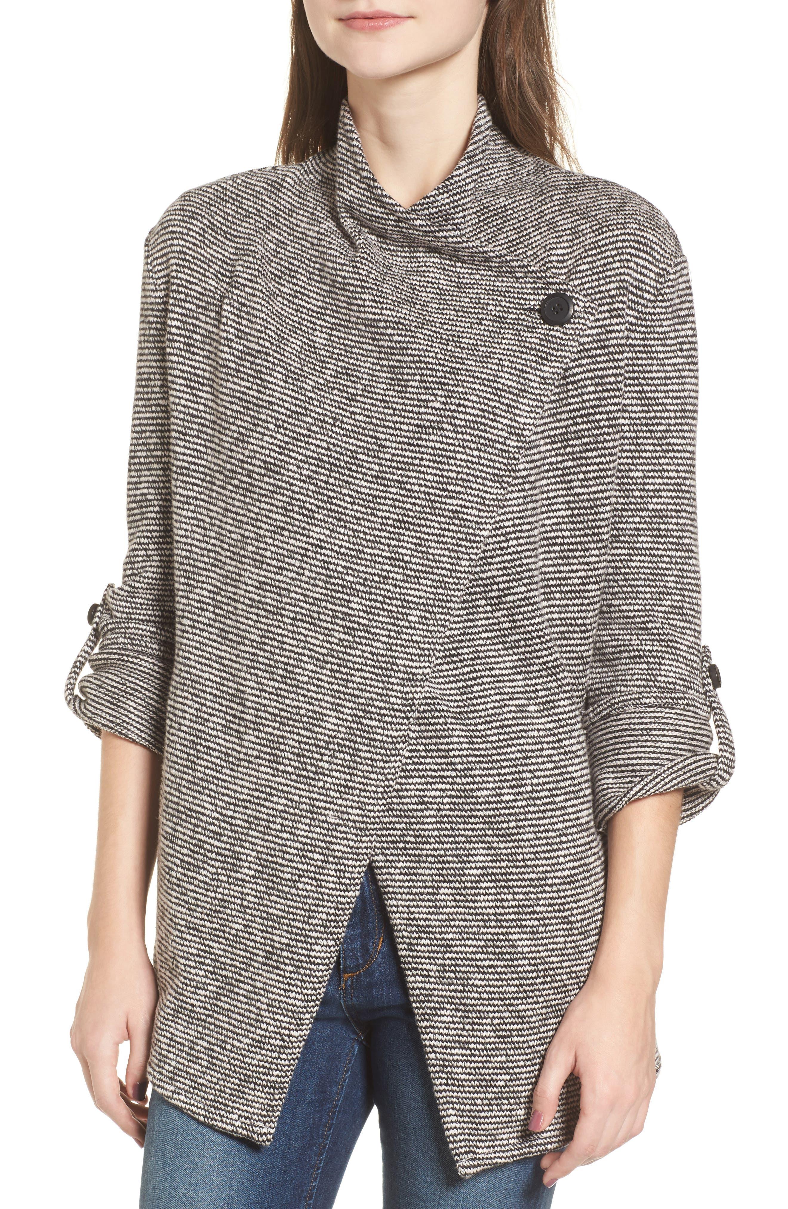 Micro Stripe Knit Drape Jacket,                             Alternate thumbnail 3, color,                             Dirty White