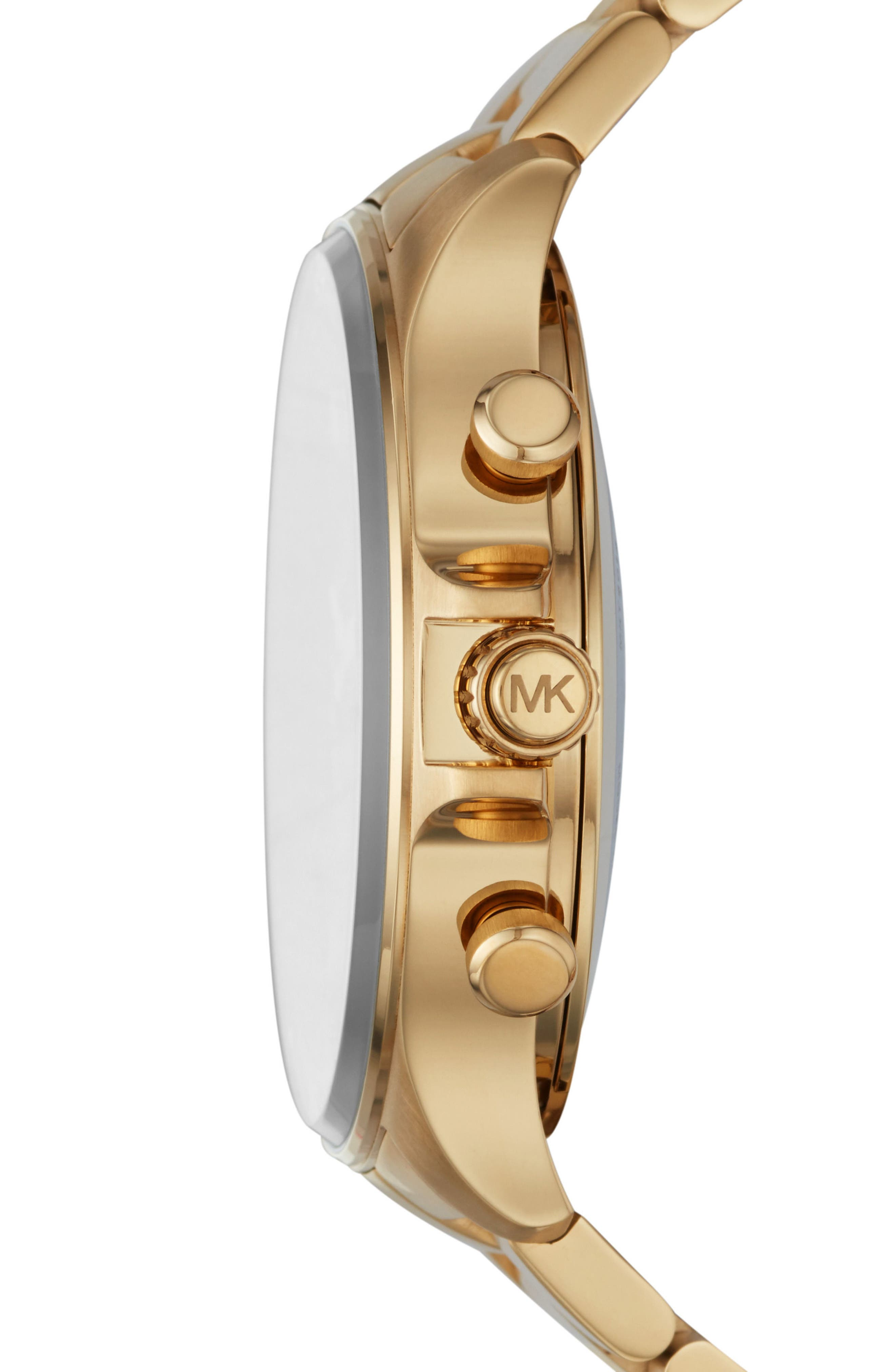 Reid Hybrid Bracelet Watch, 45mm,                             Alternate thumbnail 3, color,                             Gold/ Black/ Gold