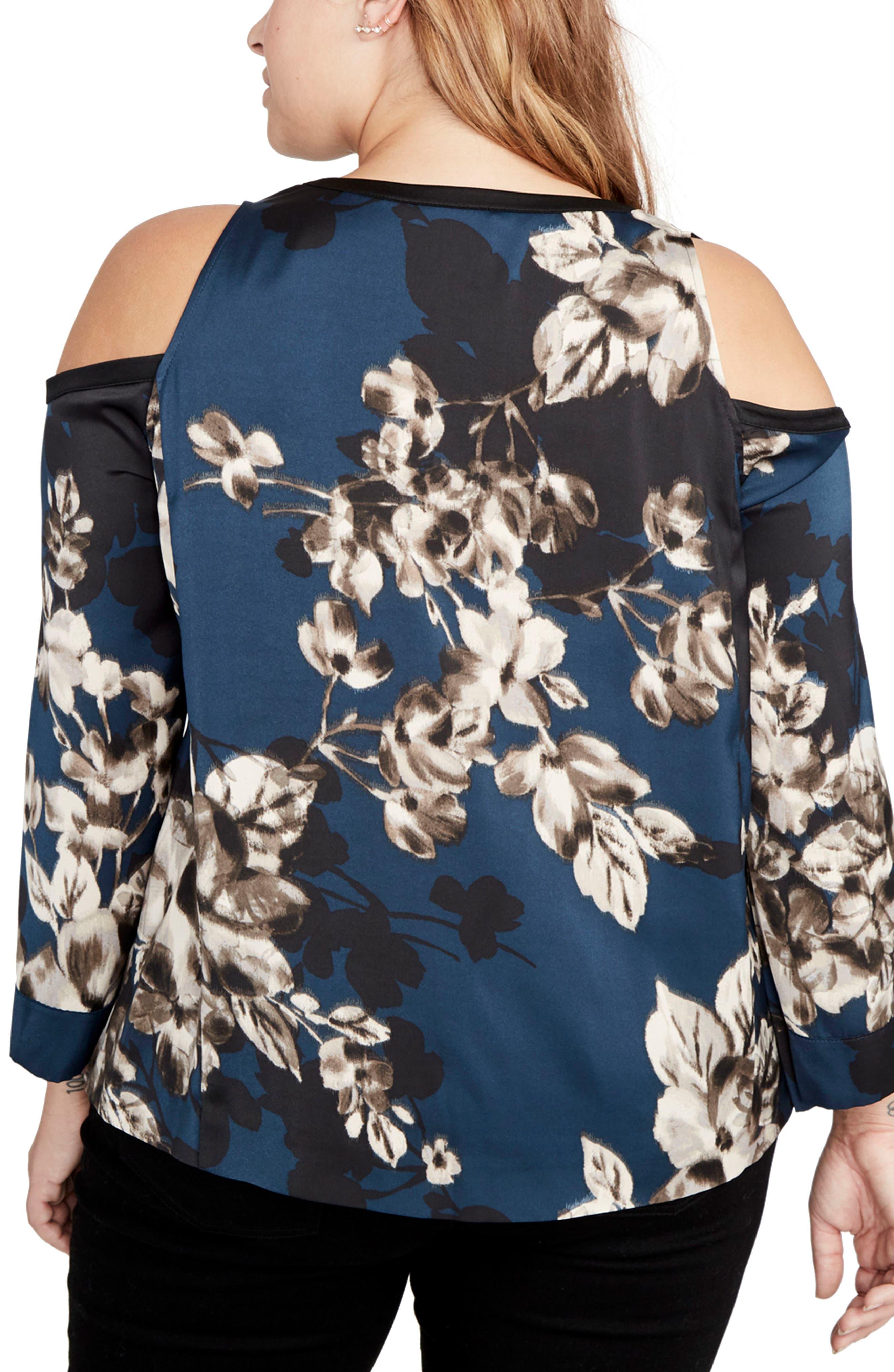 Floral Cold Shoulder Top,                             Alternate thumbnail 2, color,                             Blue Steel Combo