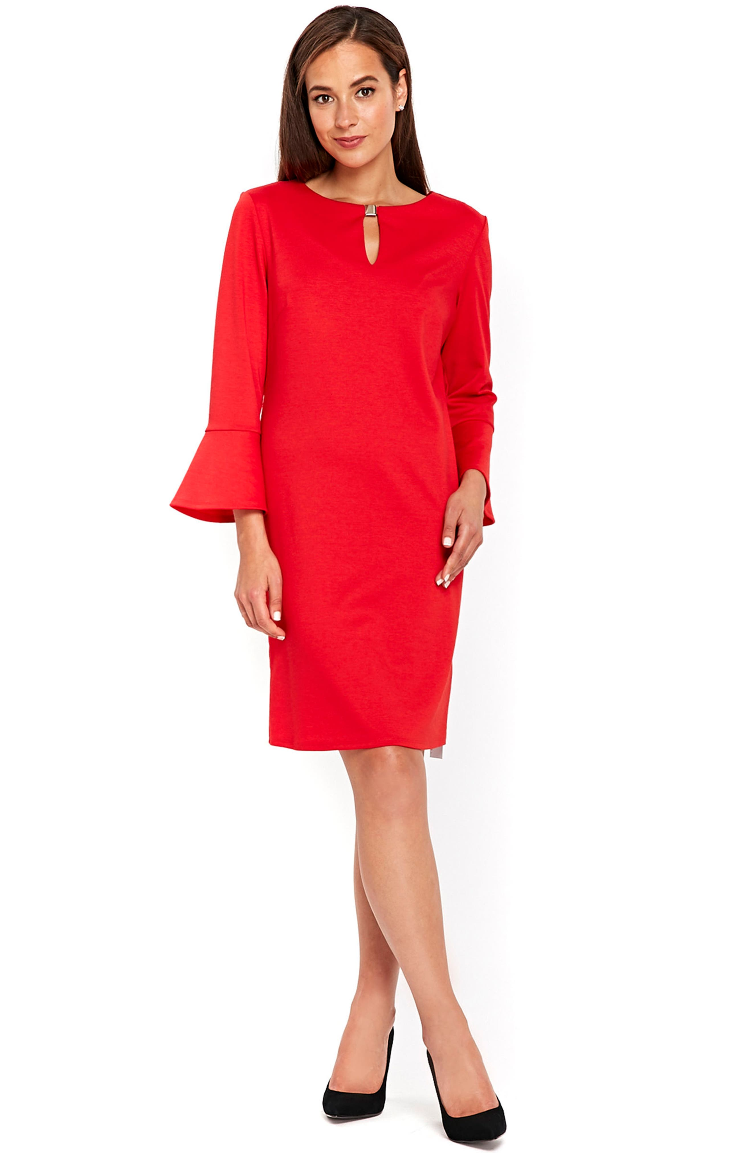 Bell Sleeve Keyhole Neck Dress,                             Alternate thumbnail 4, color,                             Red