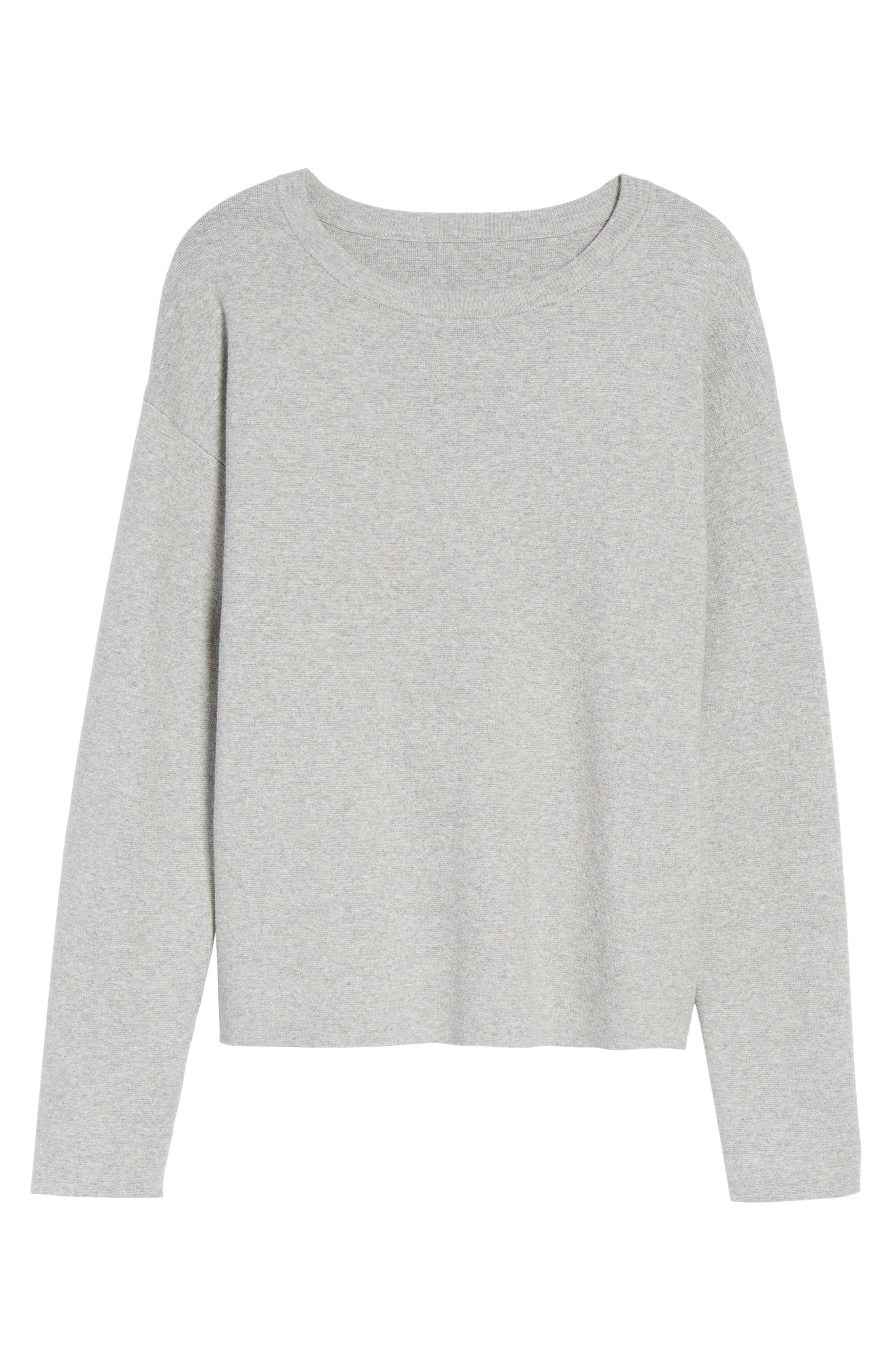 Tie Back Sweater,                             Alternate thumbnail 6, color,                             Heather Grey