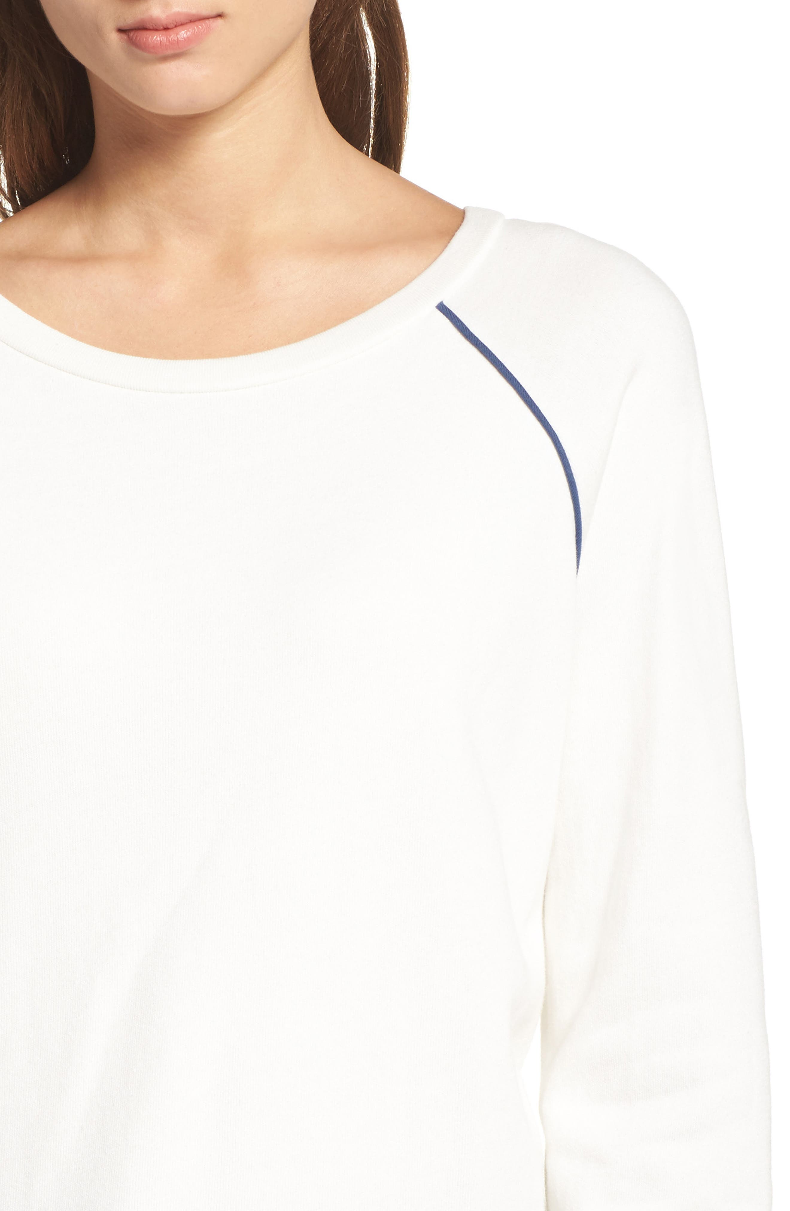 Juniper Lounge Sweatshirt,                             Alternate thumbnail 5, color,                             Milk/ Ink Blue