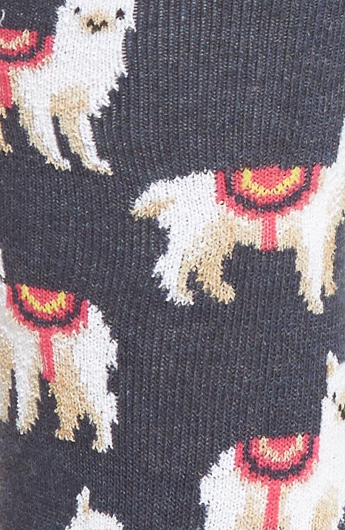 Llamas Crew Socks,                             Alternate thumbnail 2, color,                             Denim Heather