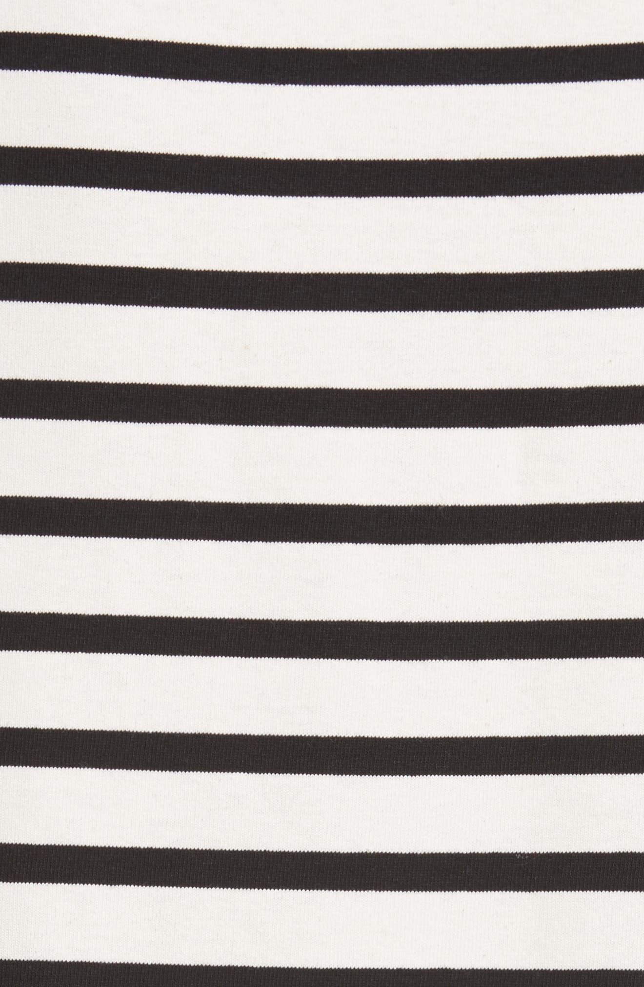 Pompom Stripe Drop Waist Dress,                             Alternate thumbnail 6, color,                             Ecru/ Black