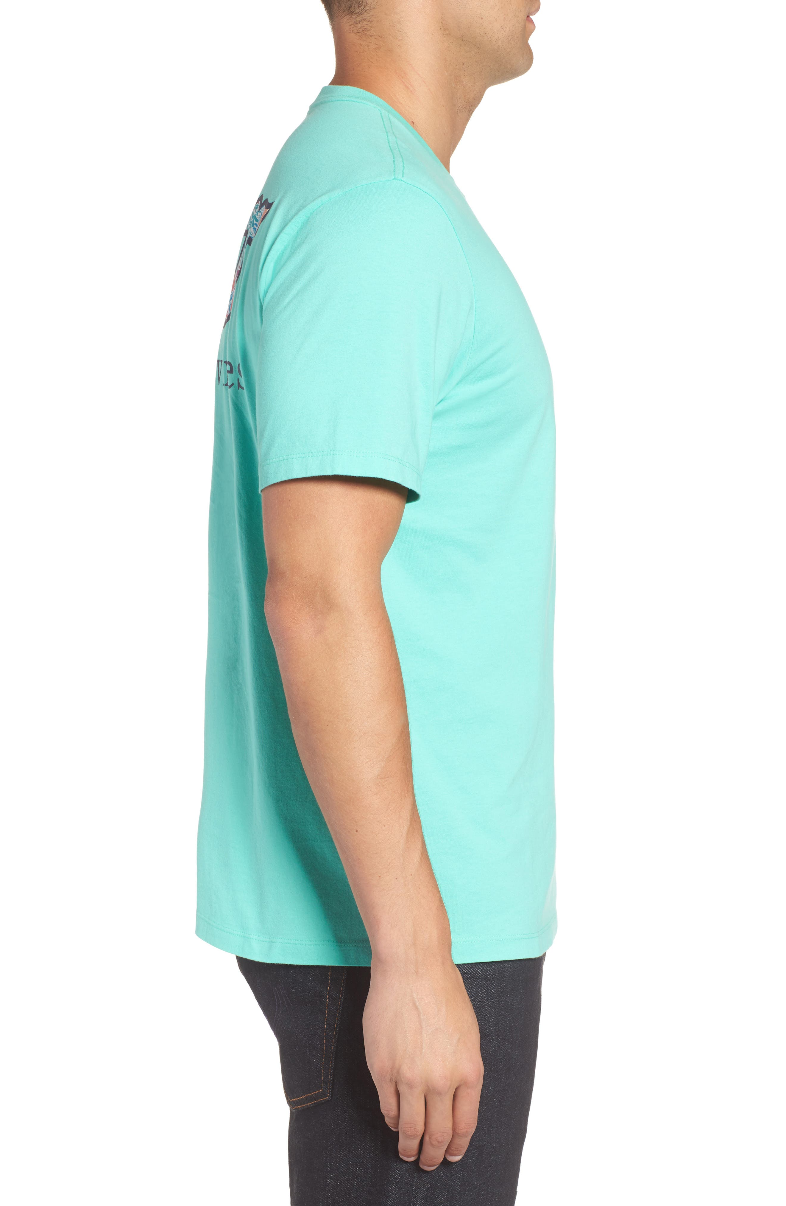 Floral Whale Fill Pocket T-Shirt,                             Alternate thumbnail 3, color,                             Antigua Green