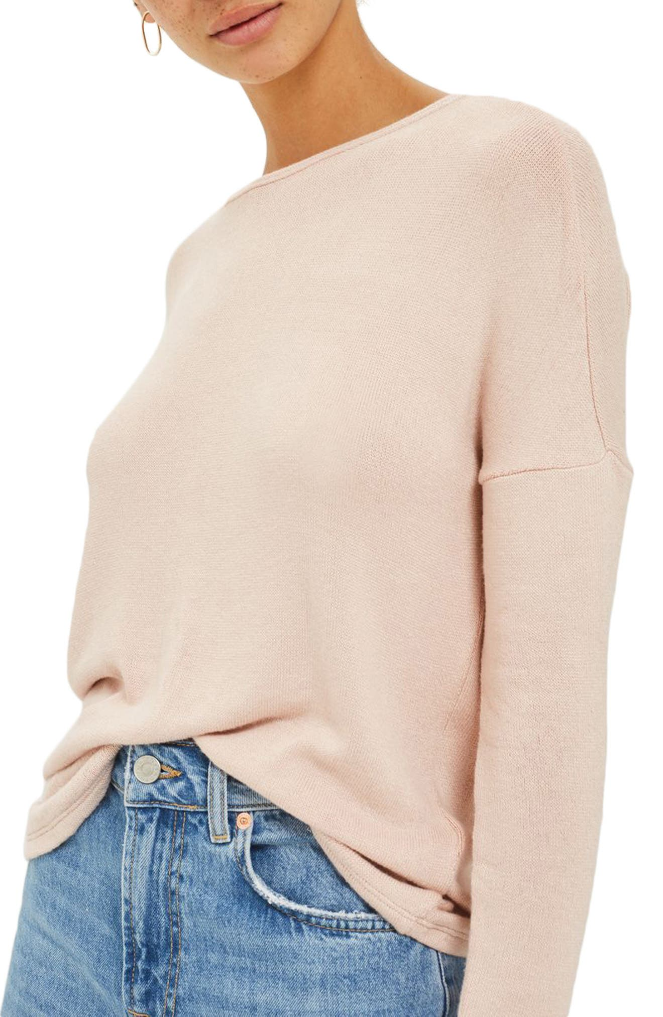 Tie Back Sweater,                             Alternate thumbnail 3, color,                             Nude