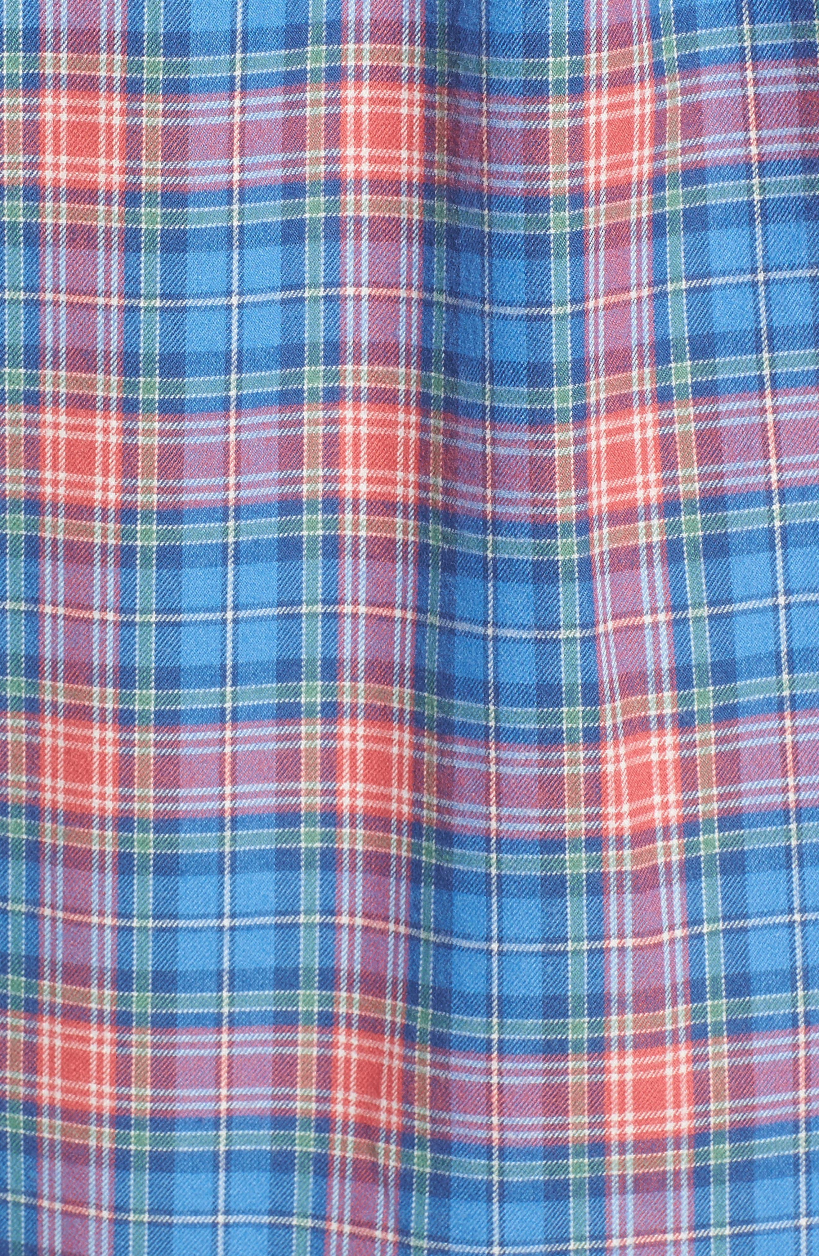 Kingsley Park Slim Fit Plaid Sport Shirt,                             Alternate thumbnail 5, color,                             Bimini Blue