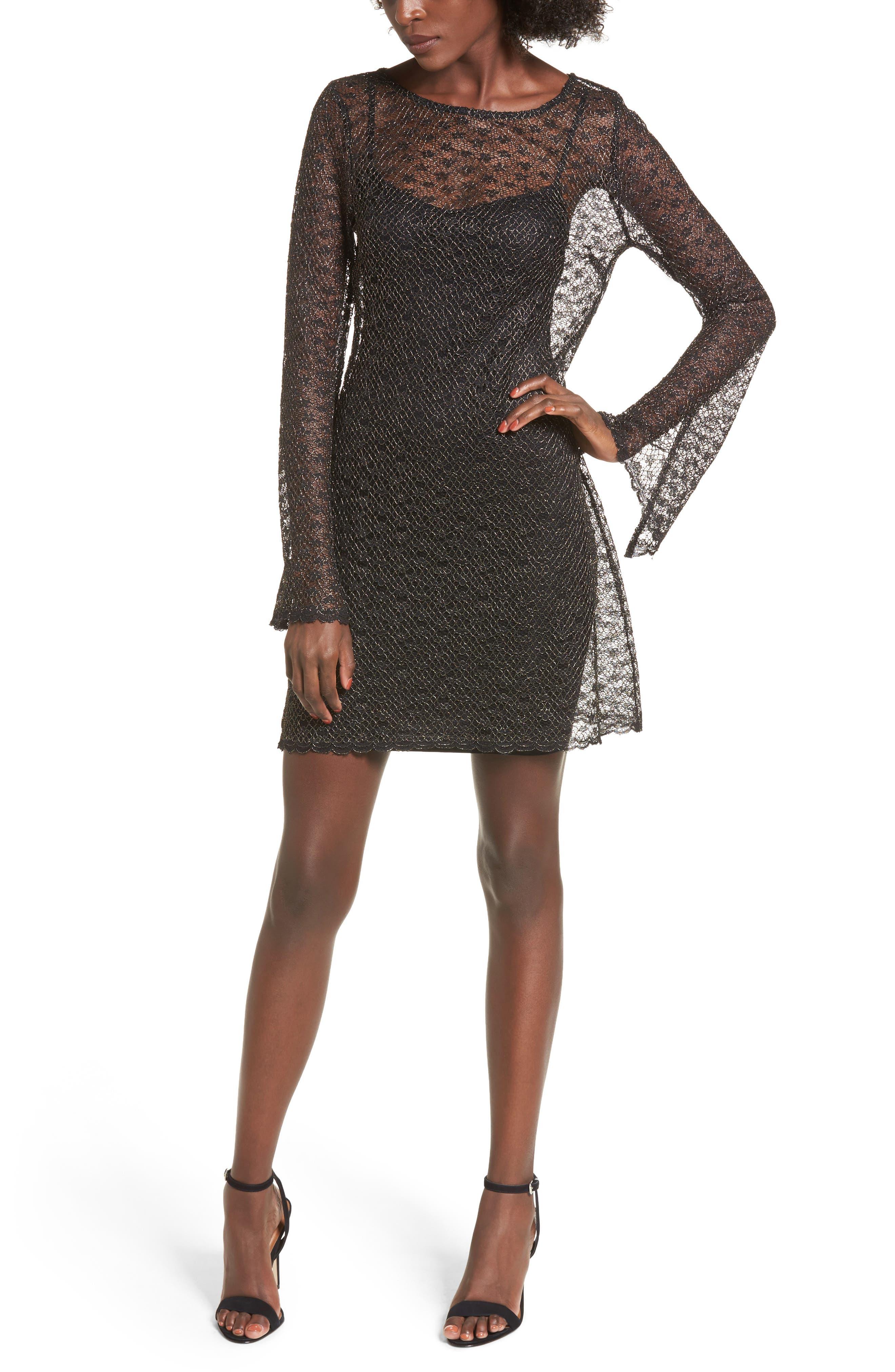 Paisley Sheer Mesh Dress,                         Main,                         color, Gold/ Black