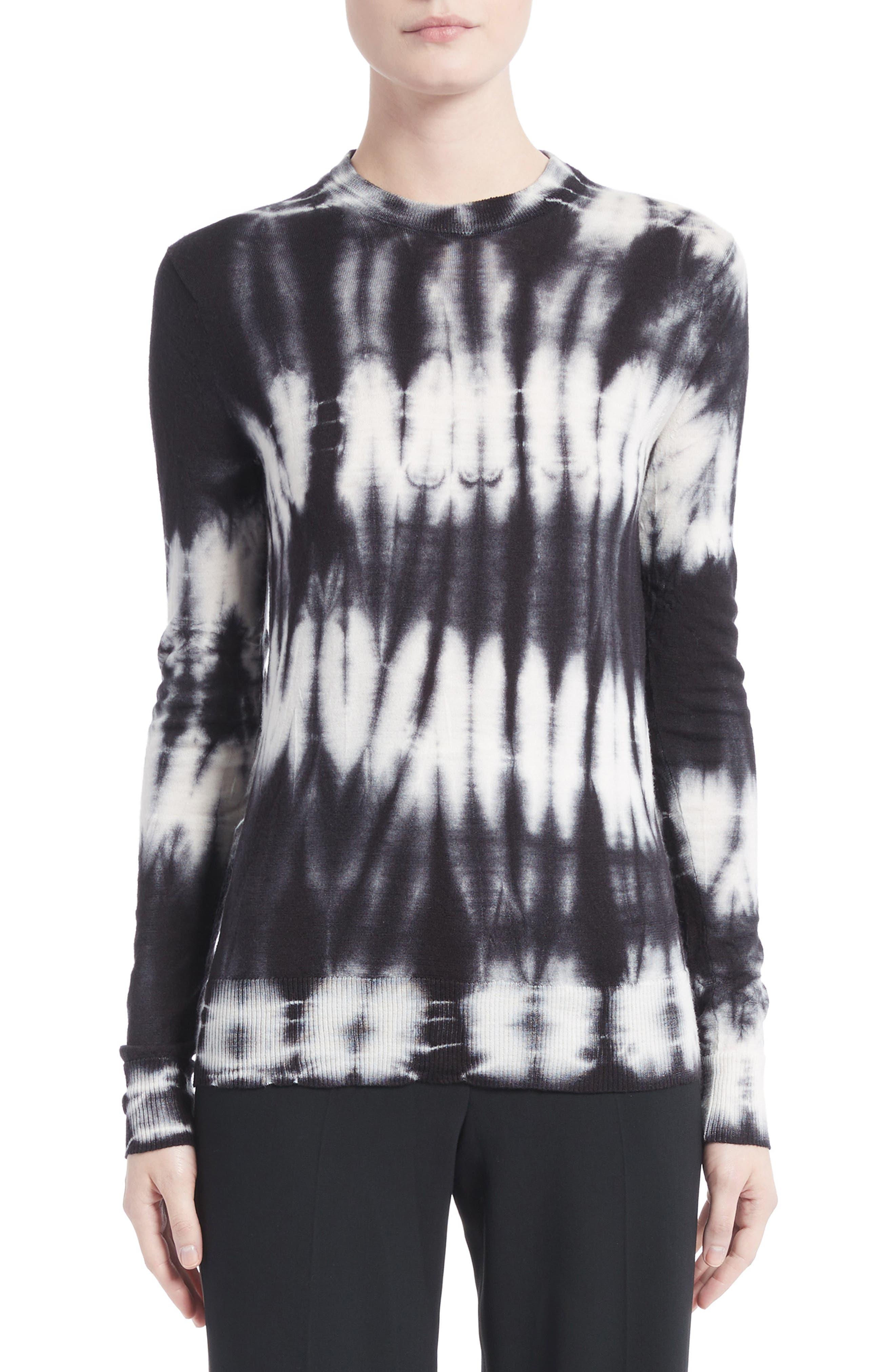 Tie Dye Wool Sweater,                             Main thumbnail 1, color,                             Black/ White