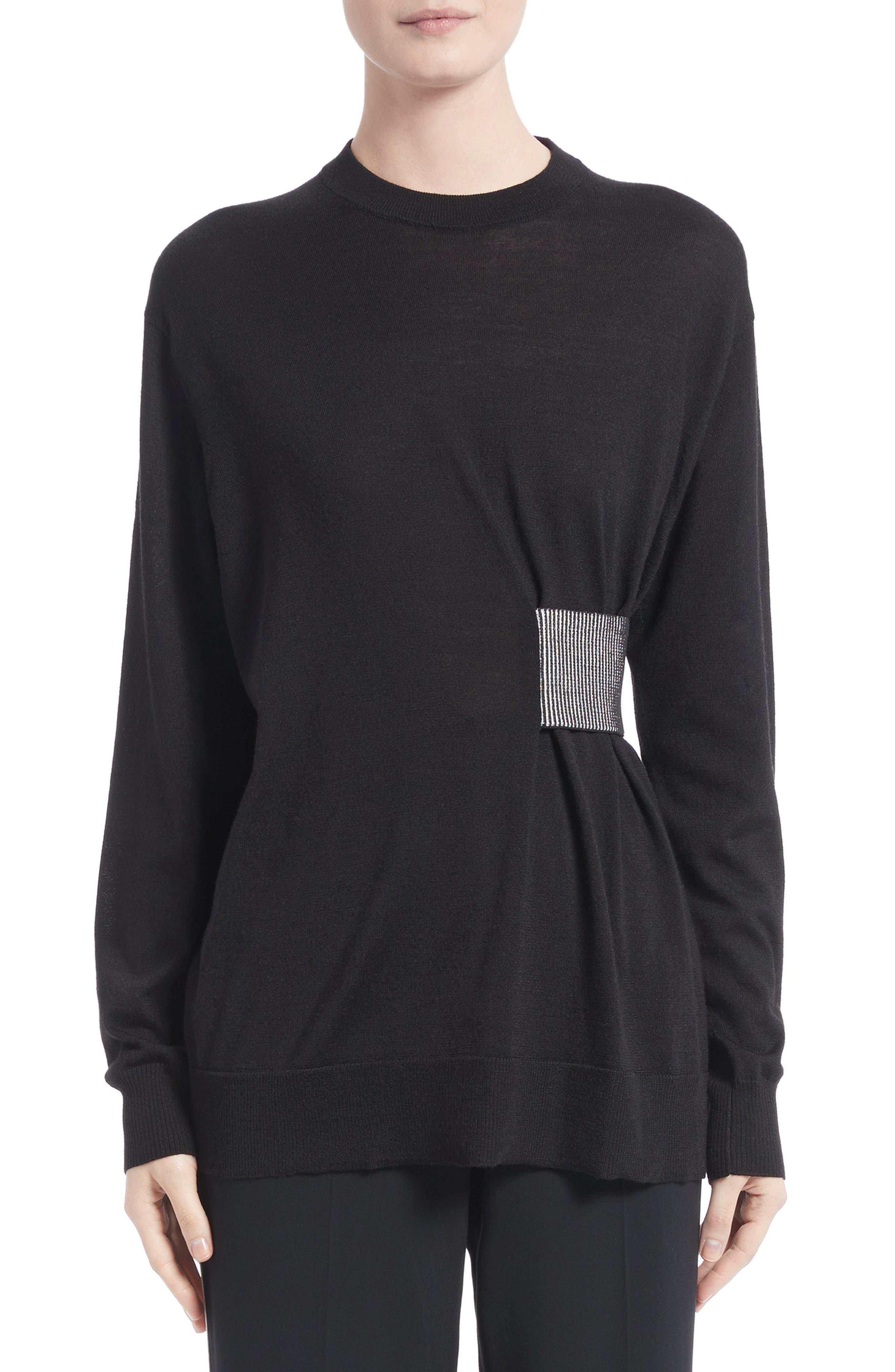 Clinch Detail Sweater,                             Main thumbnail 1, color,                             Black