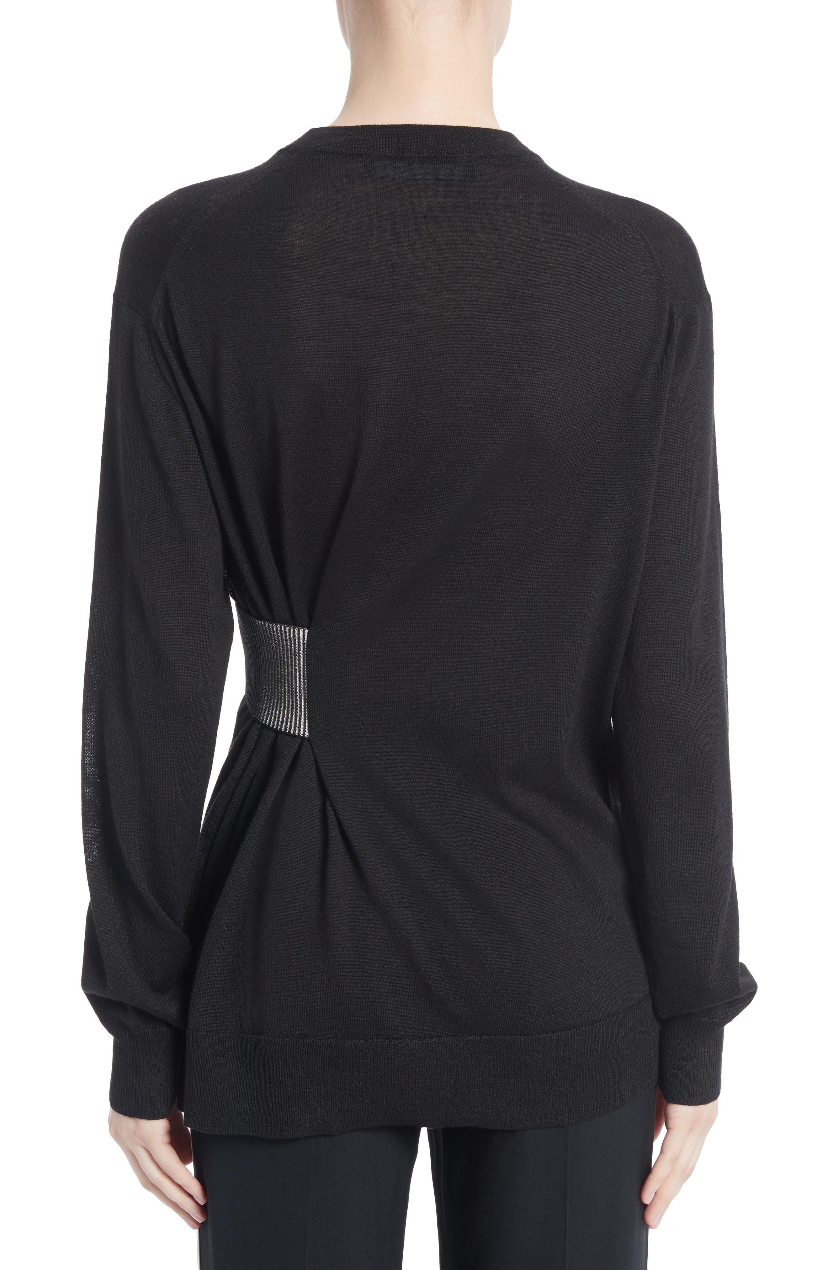 Clinch Detail Sweater,                             Alternate thumbnail 2, color,                             Black