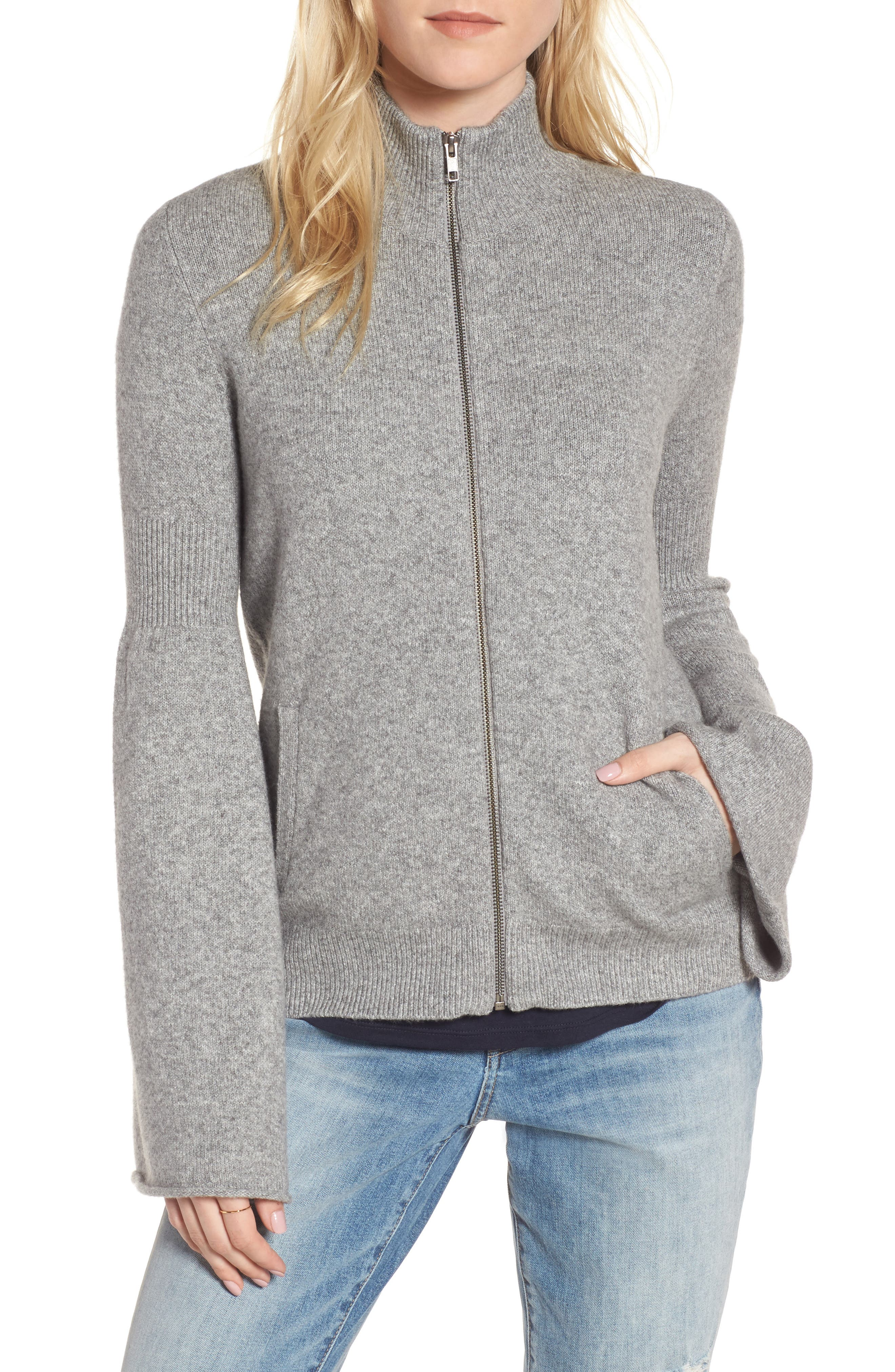 Flare Sleeve Track Jacket,                             Main thumbnail 1, color,                             Grey Heather