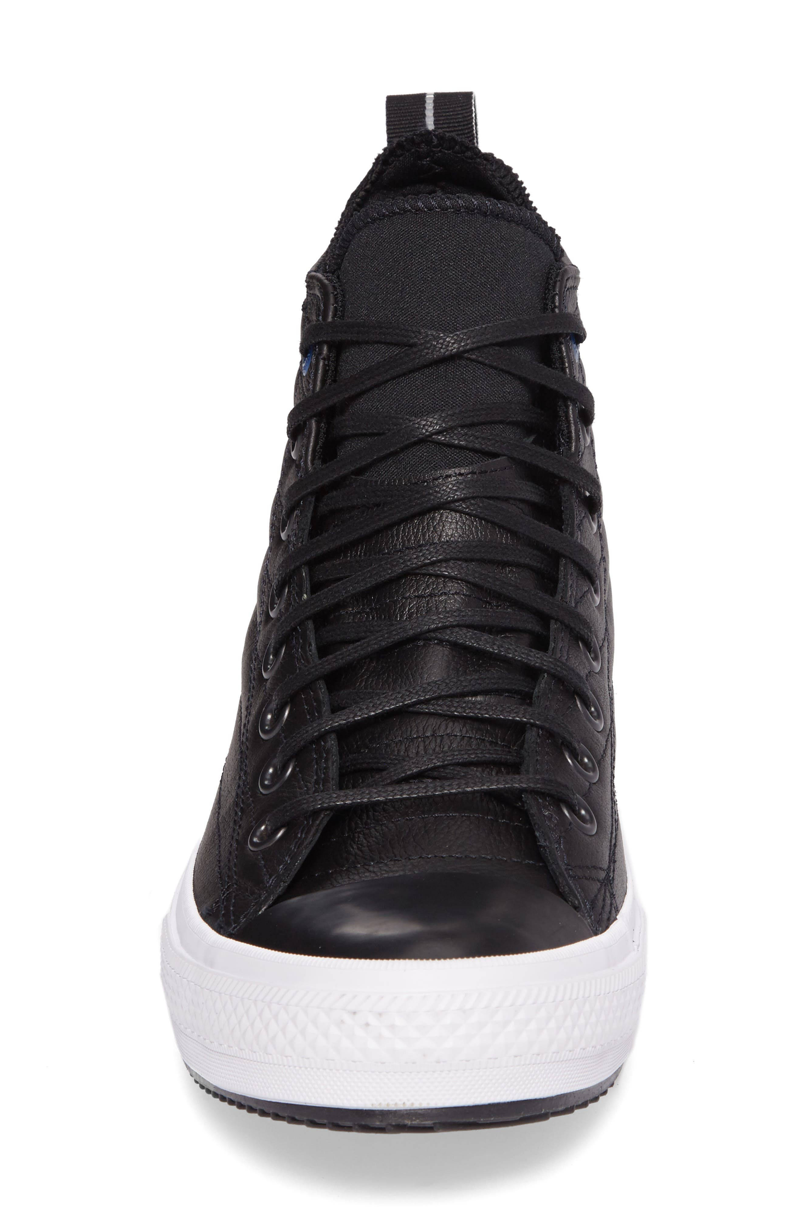 Chuck Taylor<sup>®</sup> All Star<sup>®</sup> Waterproof Quilted Sneaker,                             Alternate thumbnail 4, color,                             Black Leather
