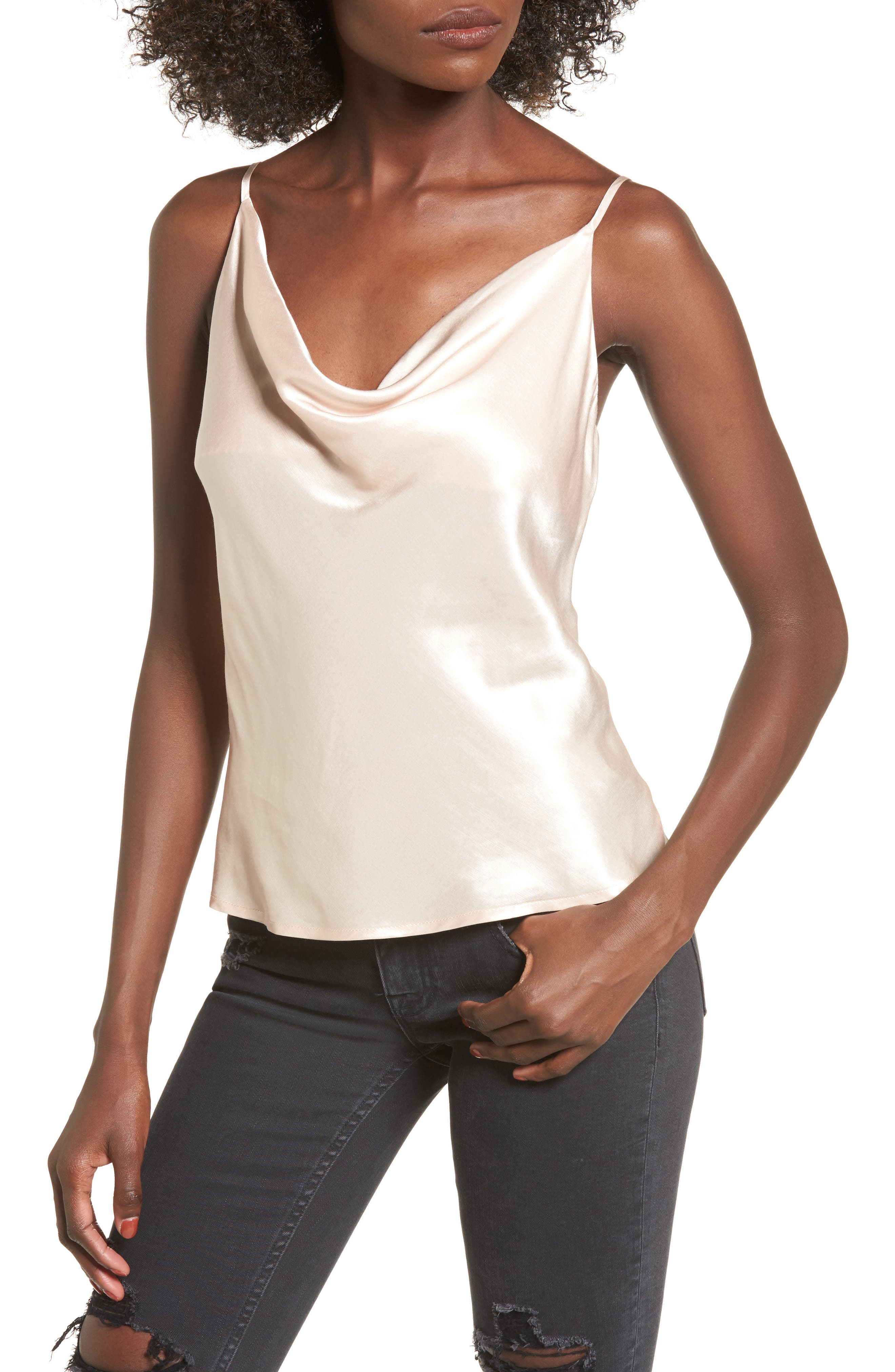 L'Academie The Cowl Camisole,                             Main thumbnail 1, color,                             Champagne