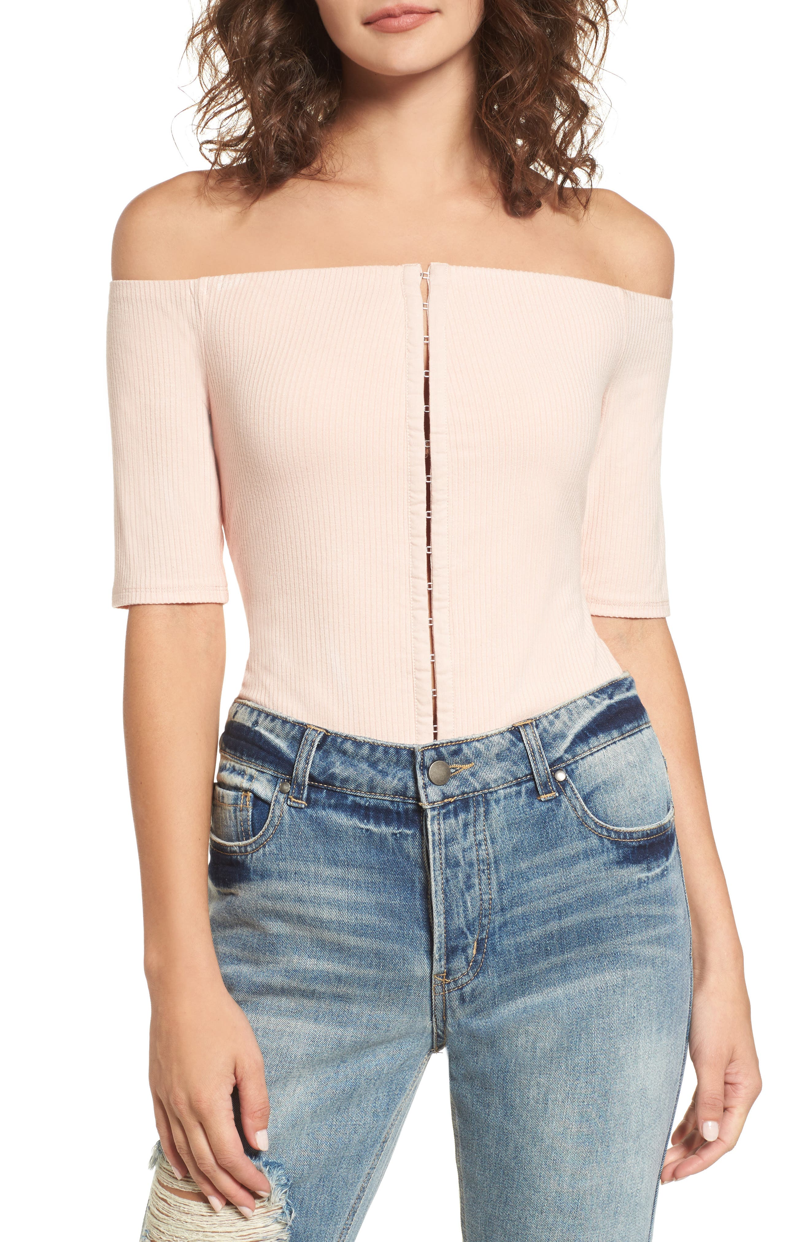 Margo Off the Shoulder Bodysuit,                             Main thumbnail 1, color,                             Cameo Rose