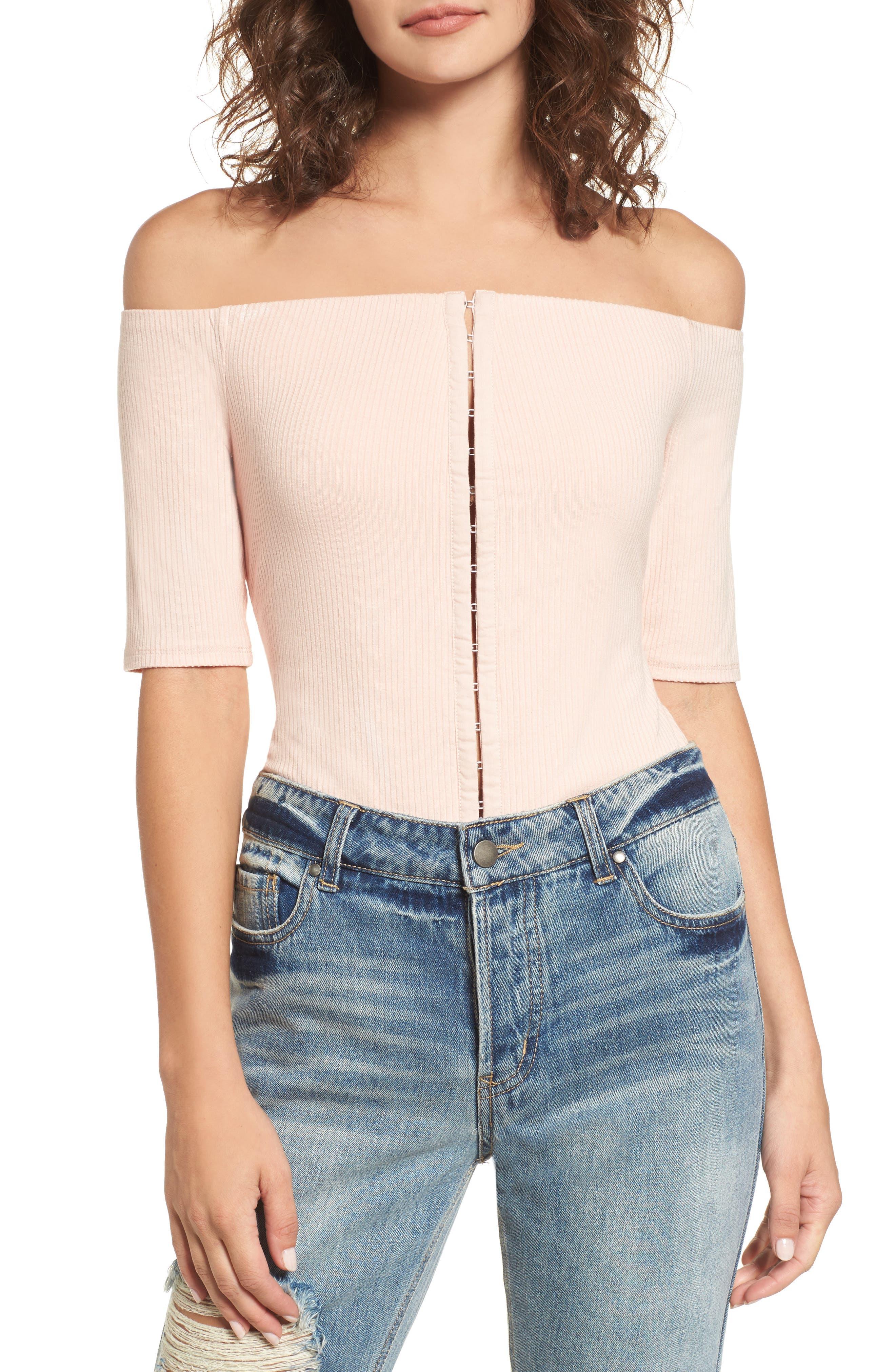 Margo Off the Shoulder Bodysuit,                         Main,                         color, Cameo Rose