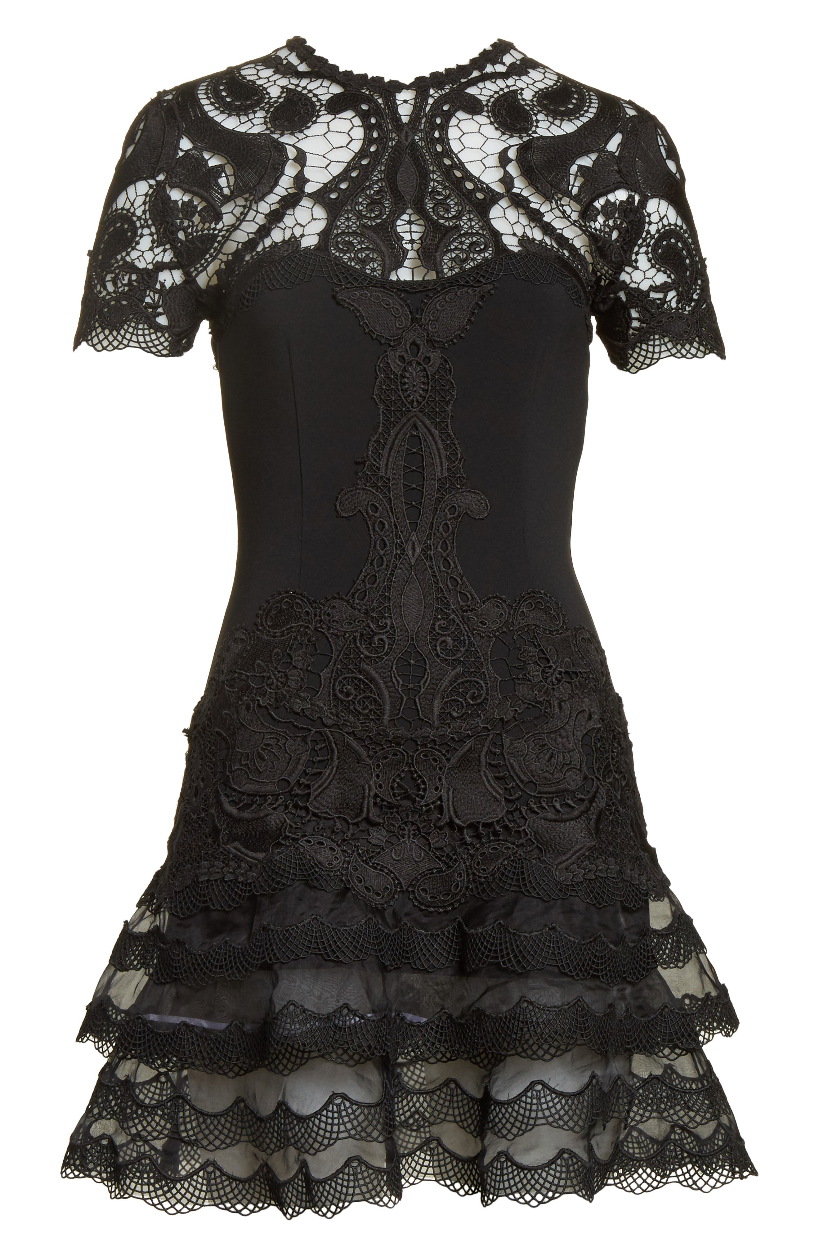 Lace Appliqué Crepe Mini Tee Dress,                             Alternate thumbnail 6, color,                             Black