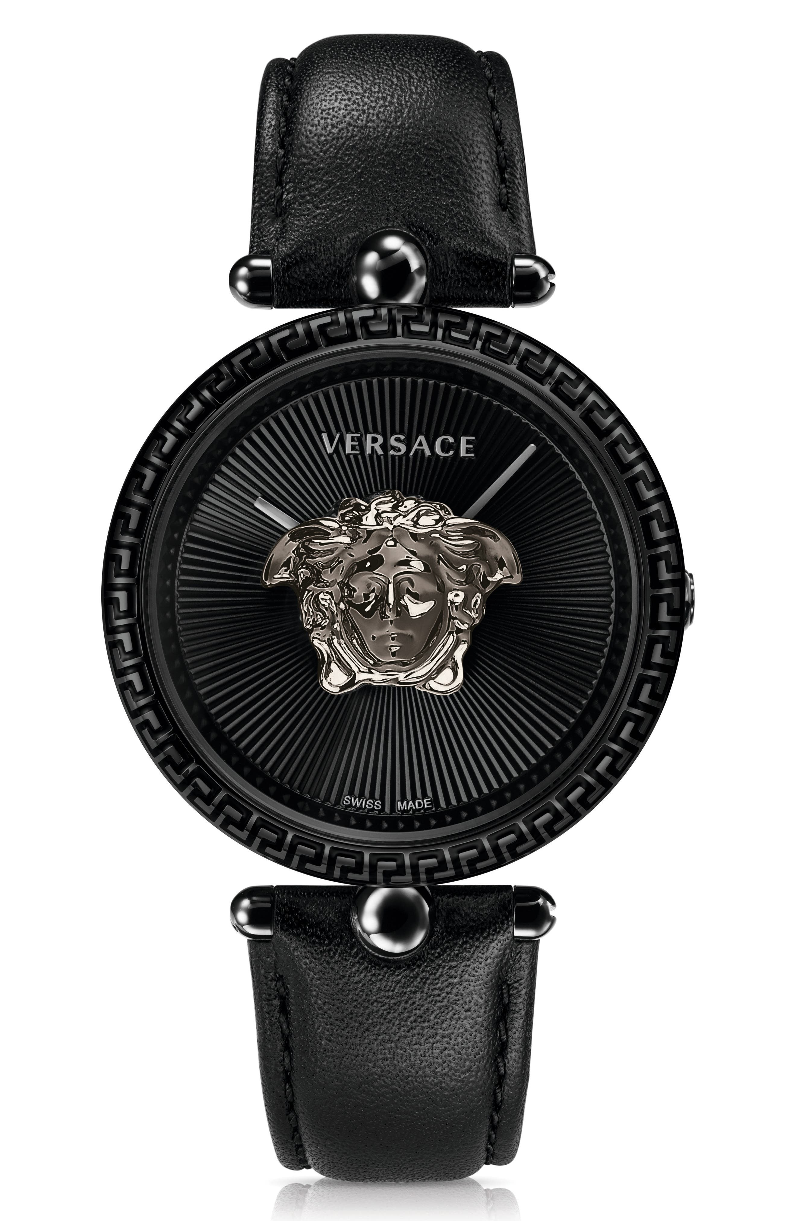 Palazzo Empire Leather Strap Watch, 39mm,                         Main,                         color, Black