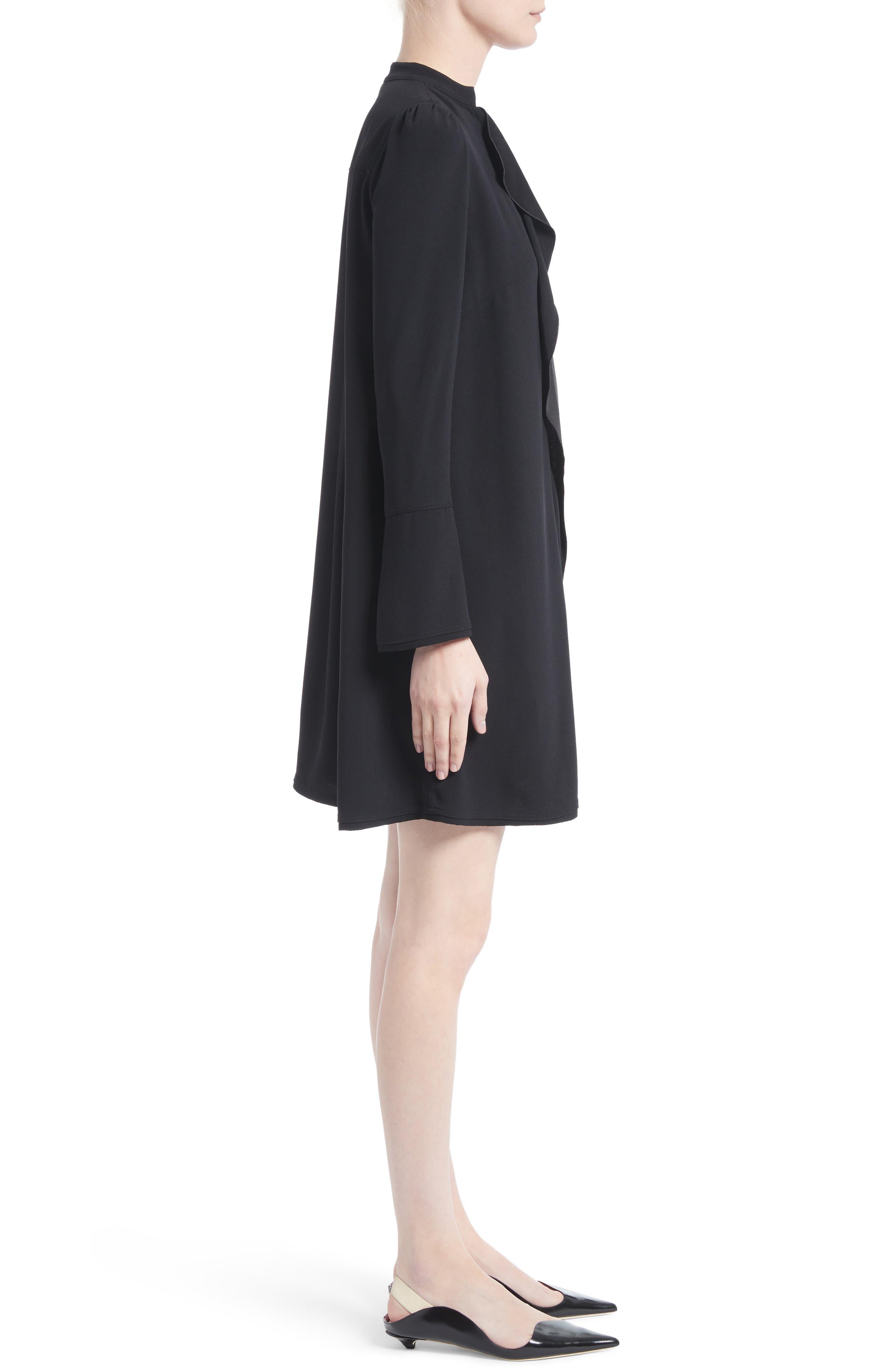 Ruffle Satin Backed Crepe Dress,                             Alternate thumbnail 3, color,                             Black