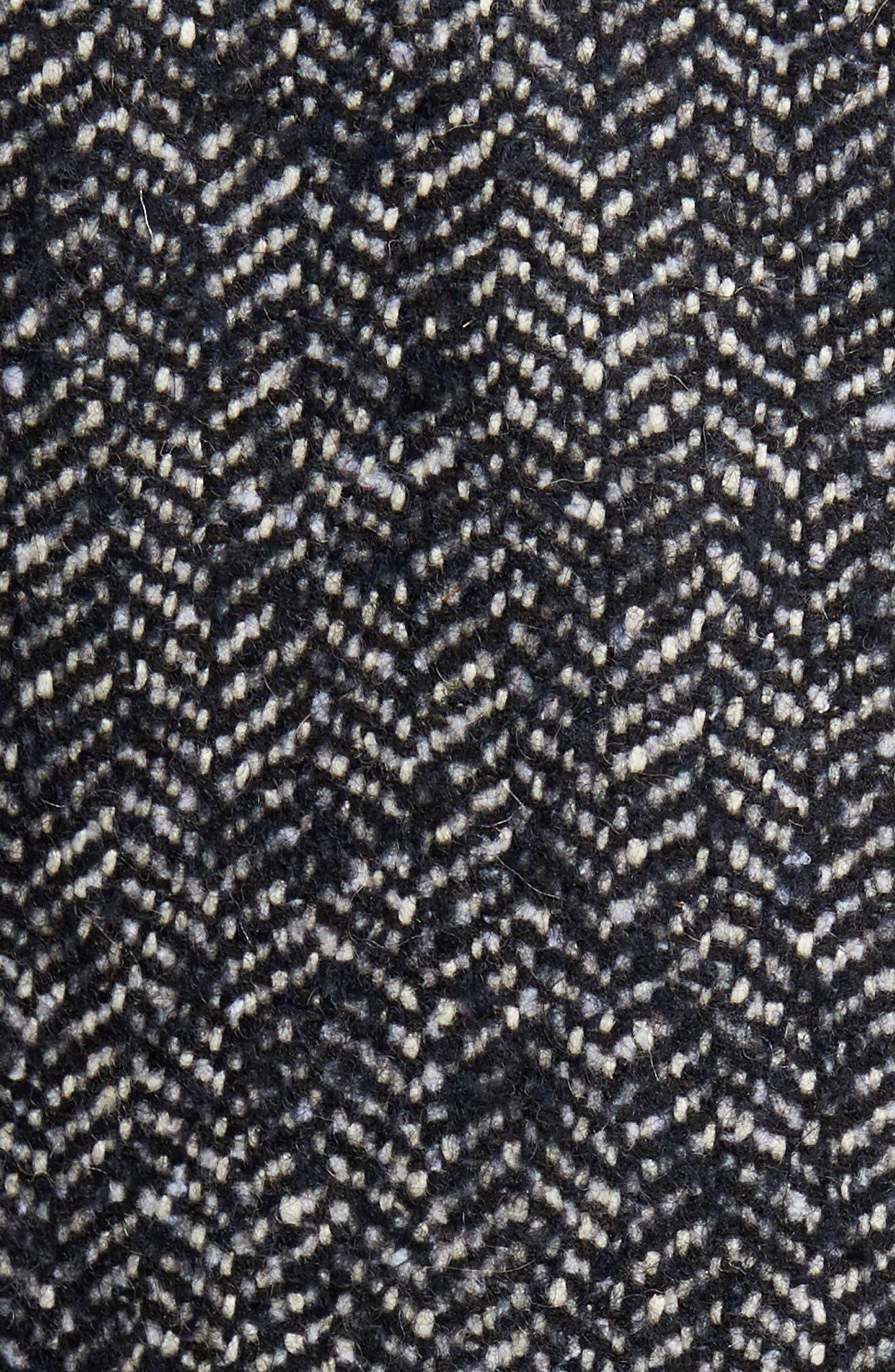 Bouclé Herringbone Topcoat,                             Alternate thumbnail 5, color,                             Navy