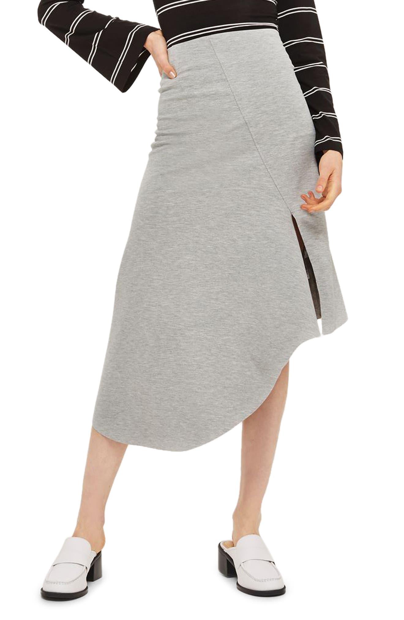 Split Asymmetric Jersey Midi Skirt,                         Main,                         color, Grey Marl