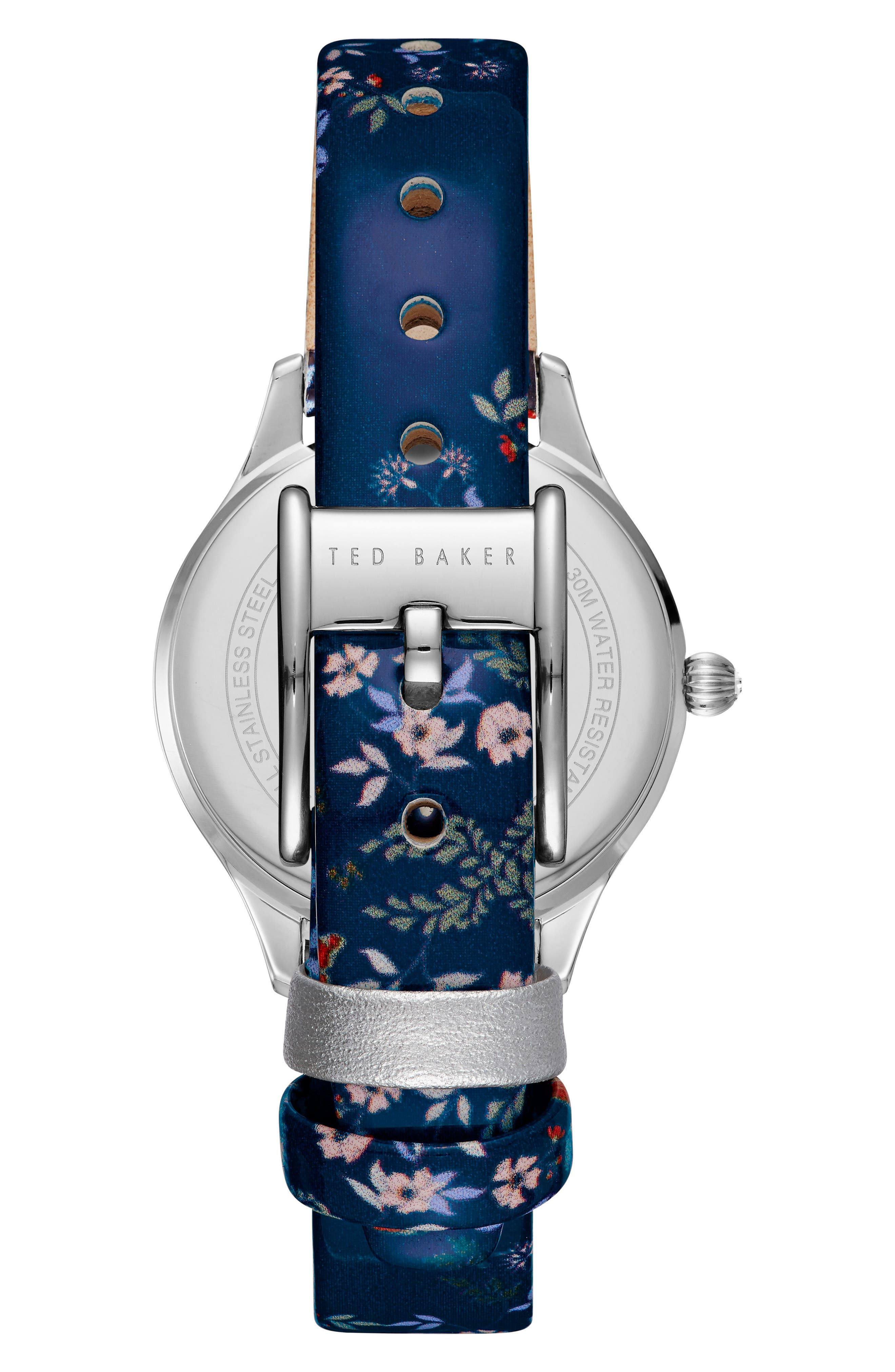 Alternate Image 2  - Ted Baker London Zoe Round Leather Strap Watch, 32mm