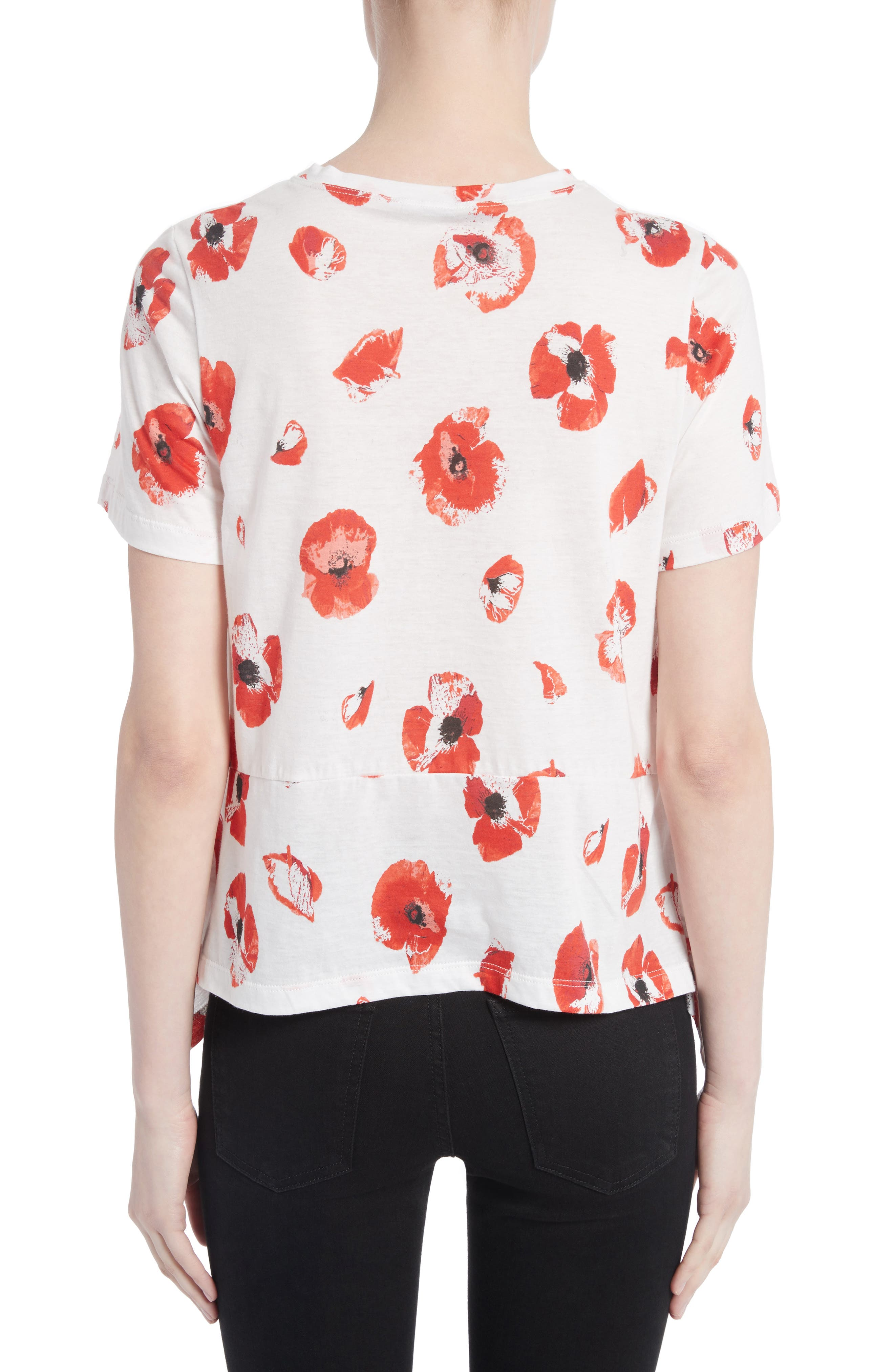 Floral Peplum Tee,                             Alternate thumbnail 2, color,                             Creme/ Coral Poppy