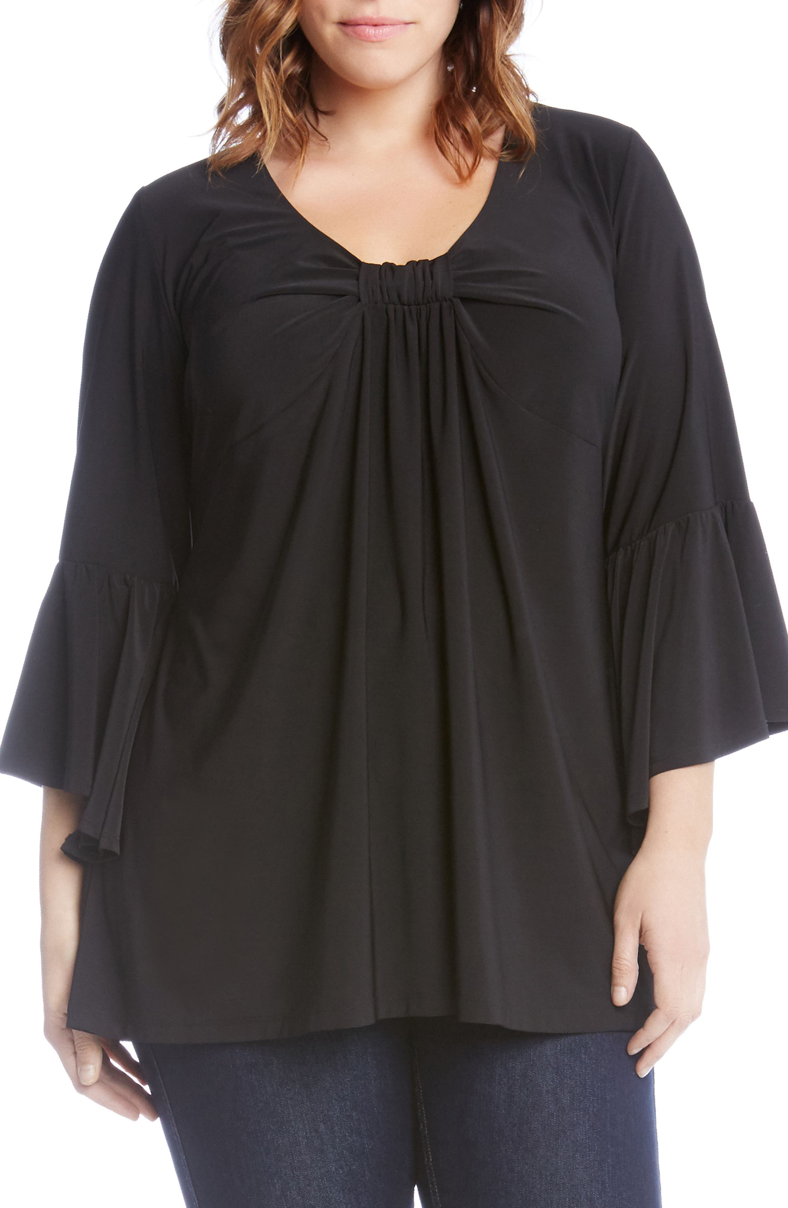 Flare Sleeve Knit Top,                         Main,                         color, Black