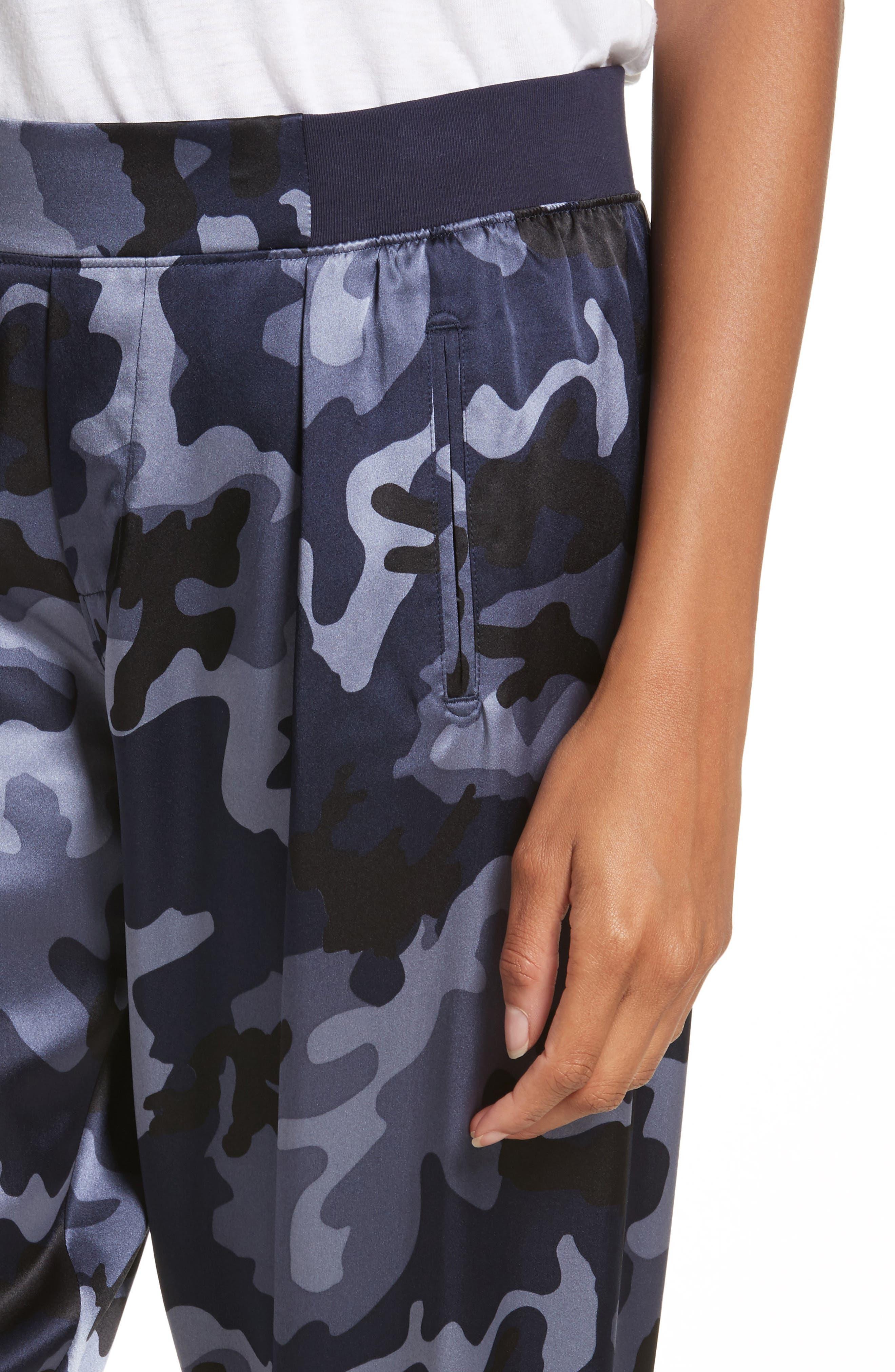 Camo Silk Lounge Pants,                             Alternate thumbnail 4, color,                             Blue Camo