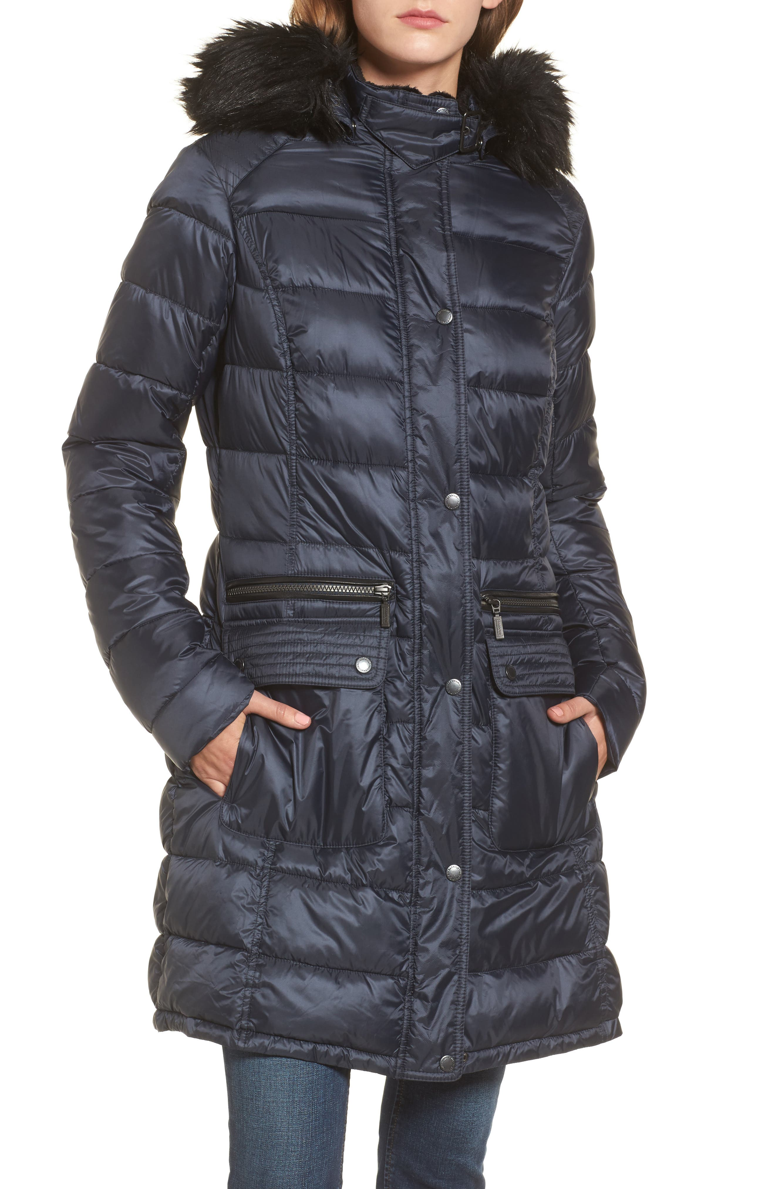 Dunnet Water Resistant Hooded Quilted Coat with Faux Fur Trim,                         Main,                         color, Navy