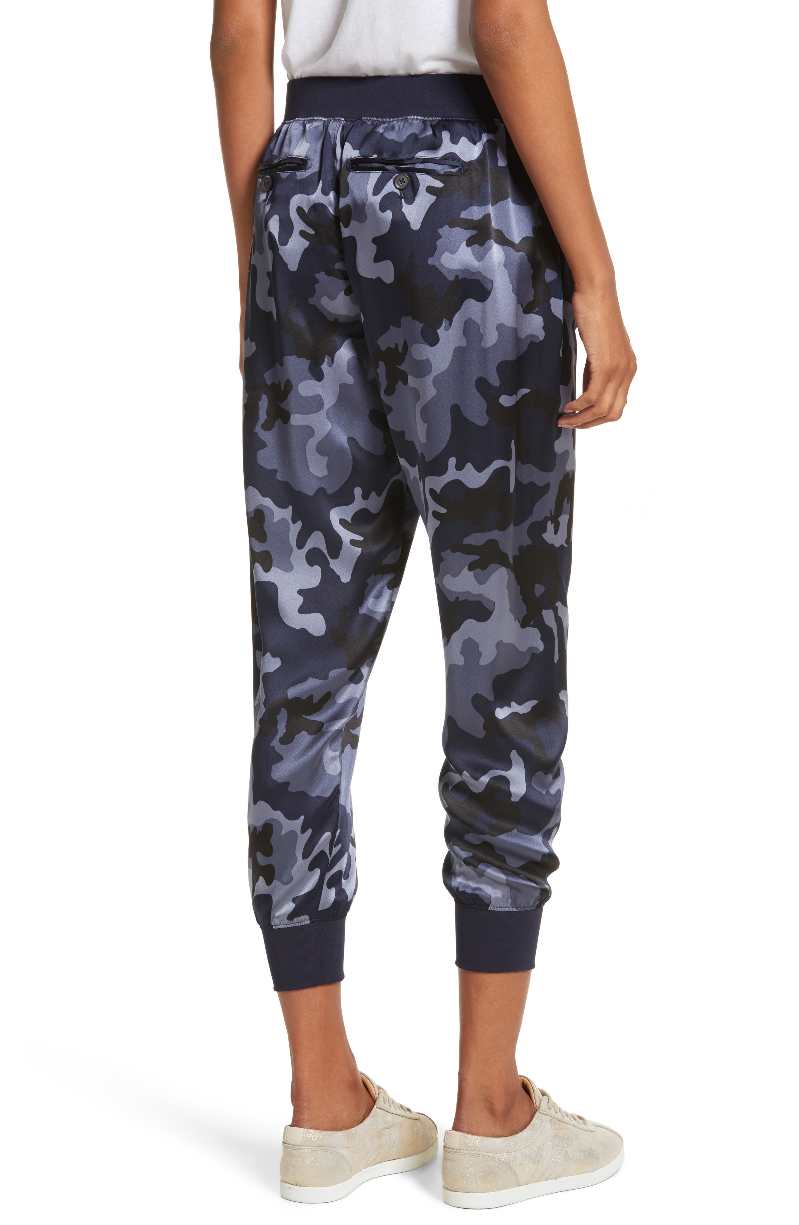 Camo Silk Lounge Pants,                             Alternate thumbnail 2, color,                             Blue Camo