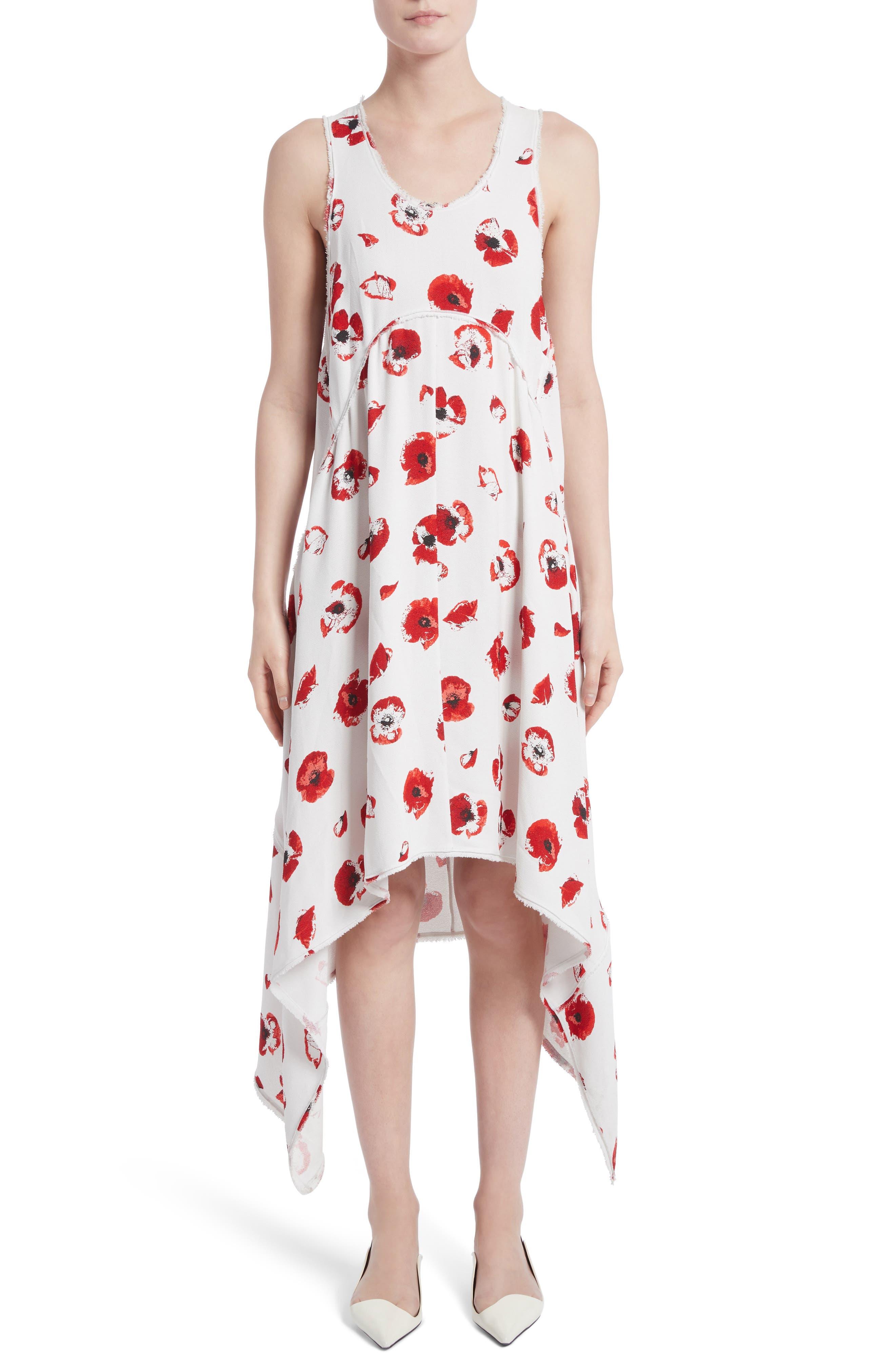 Proenza Schouler Floral Print Handkerchief Hem Dress