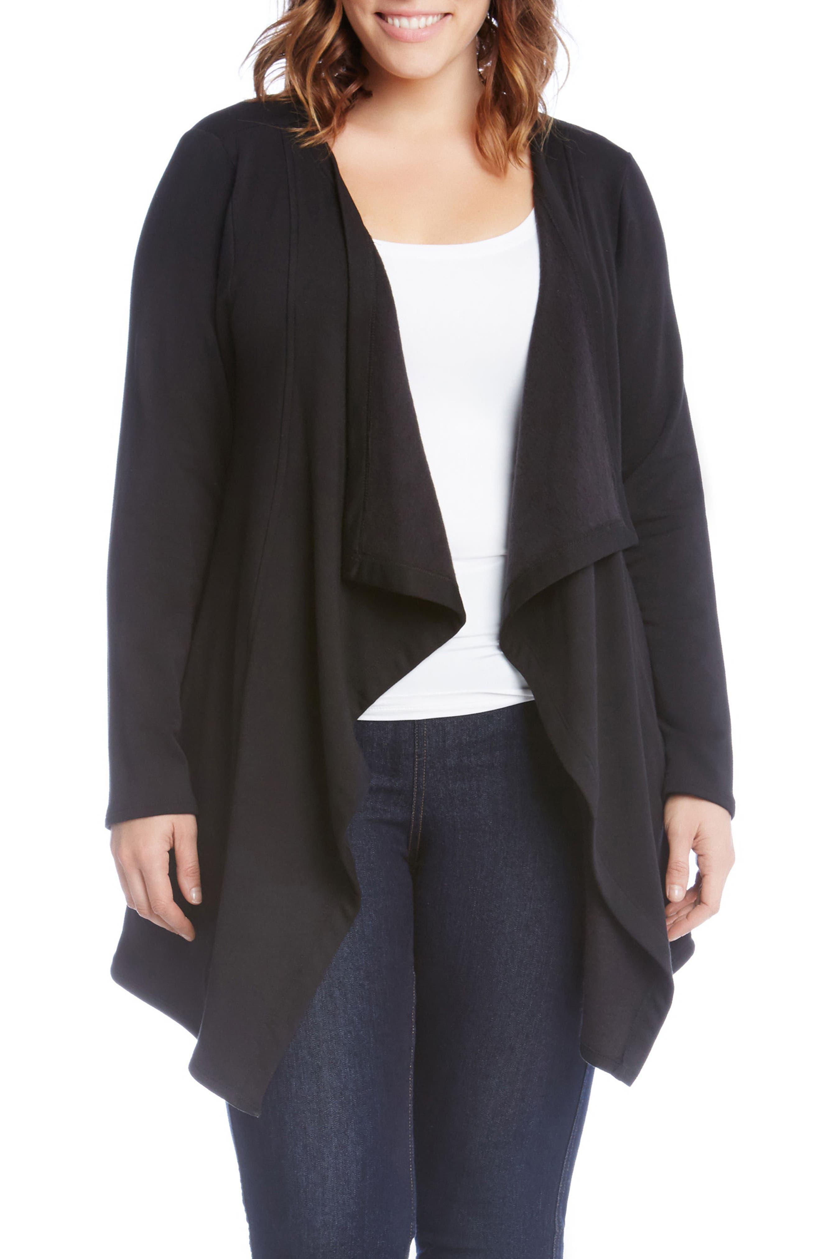 Karen Kane Drape Front Cardigan (Plus Size)