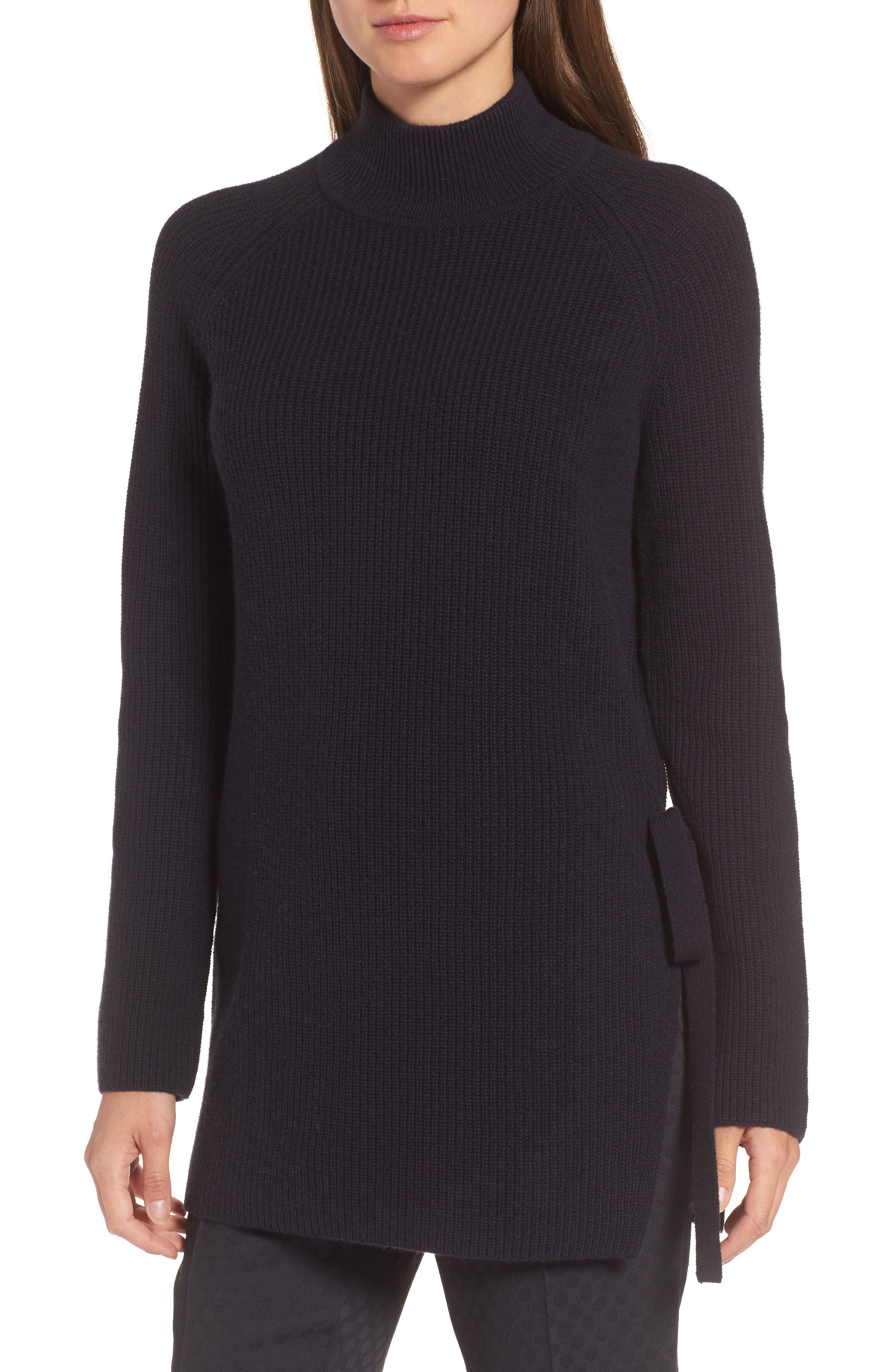 Filda Tie Side Wool Blend Sweater,                         Main,                         color, Navy