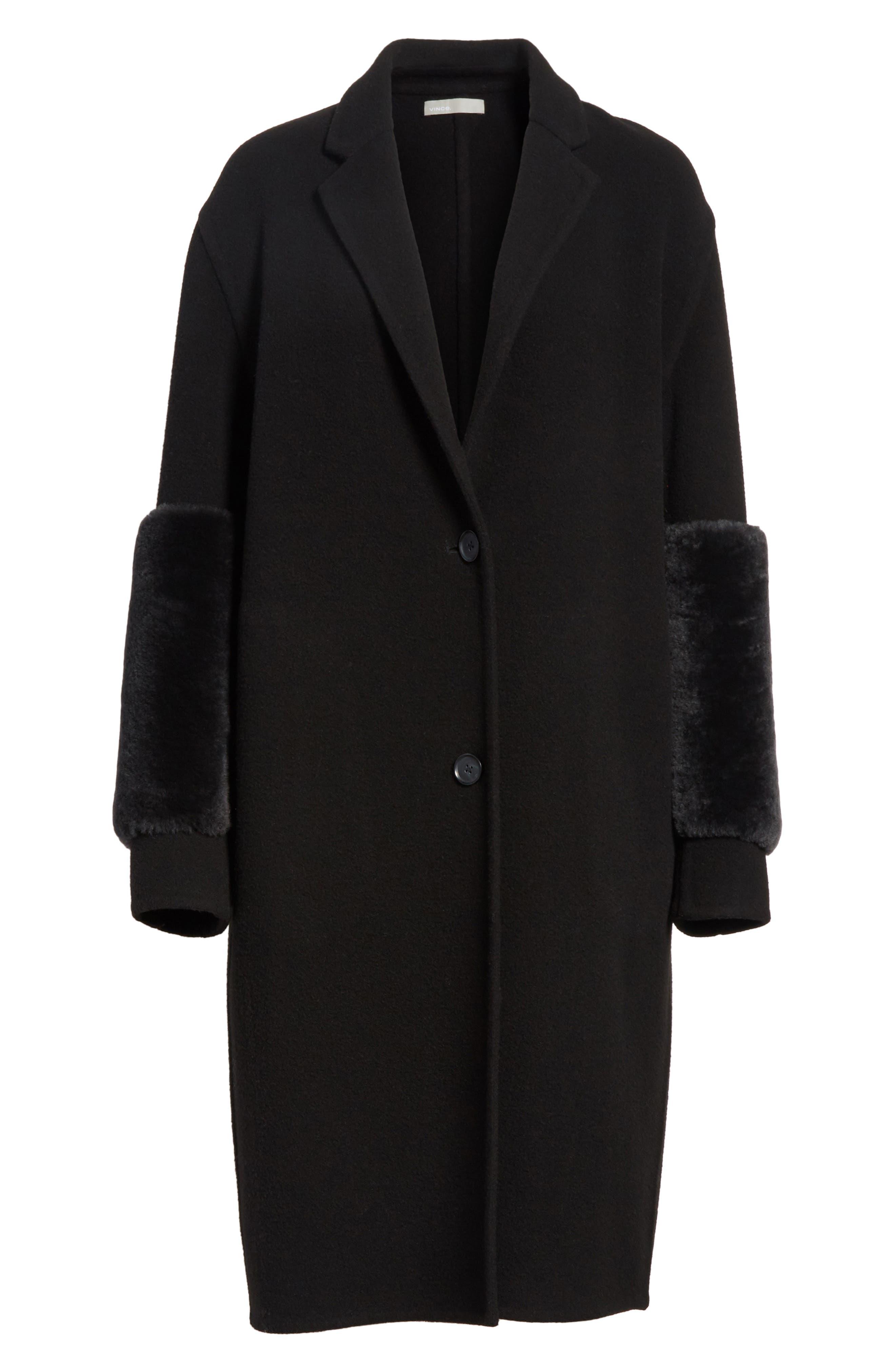 Genuine Shearling Trim Long Coat,                             Alternate thumbnail 6, color,                             Black